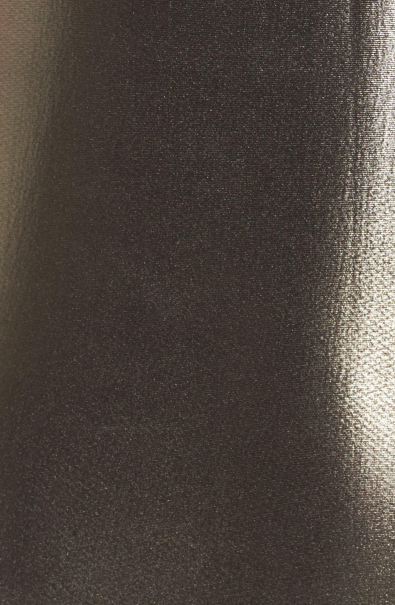 Metallic One-Piece Swimsuit,                             Alternate thumbnail 5, color,                             Grey Foil