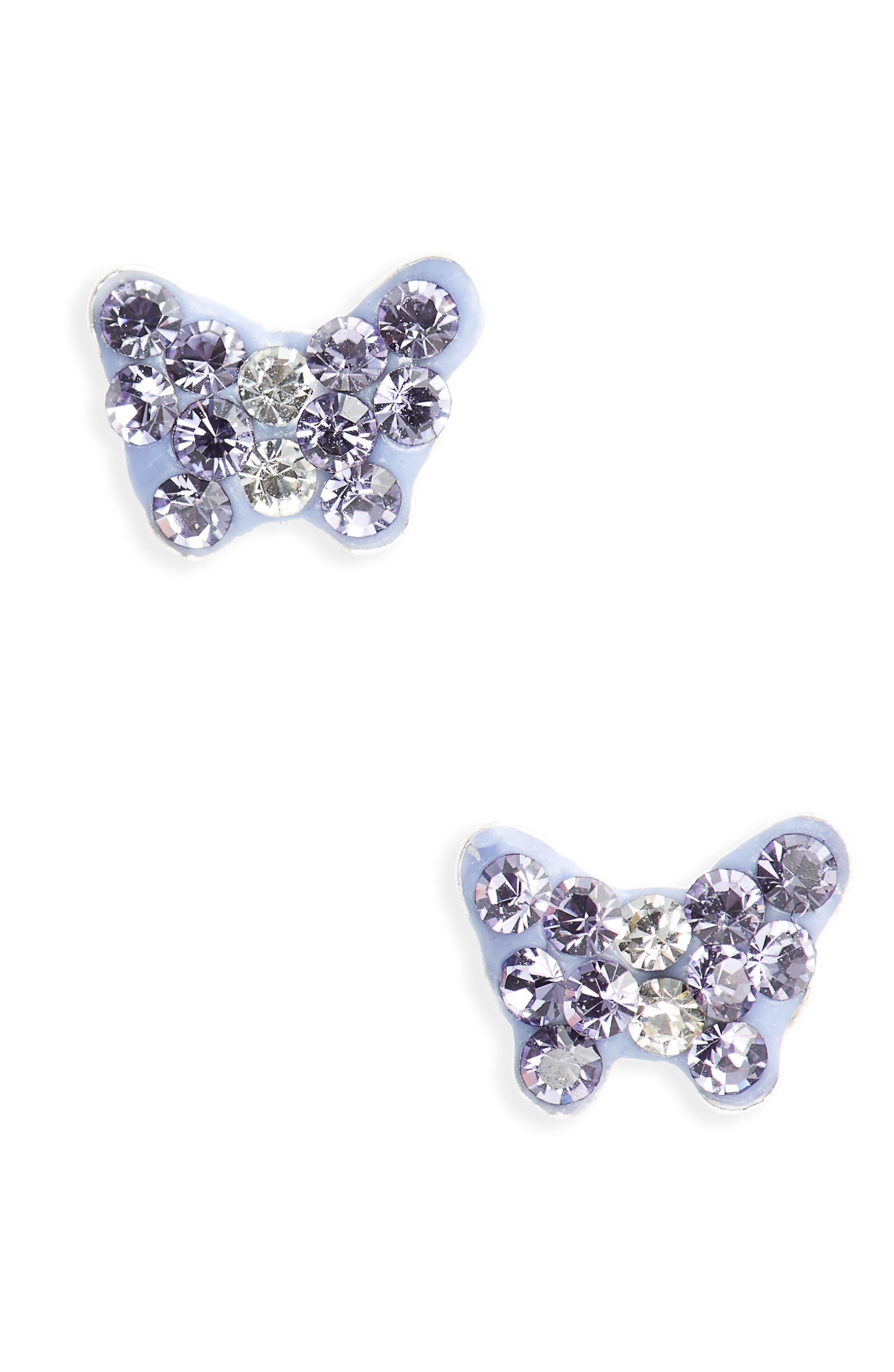 Cubic Zirconia Butterfly Earrings,                         Main,                         color, Purple