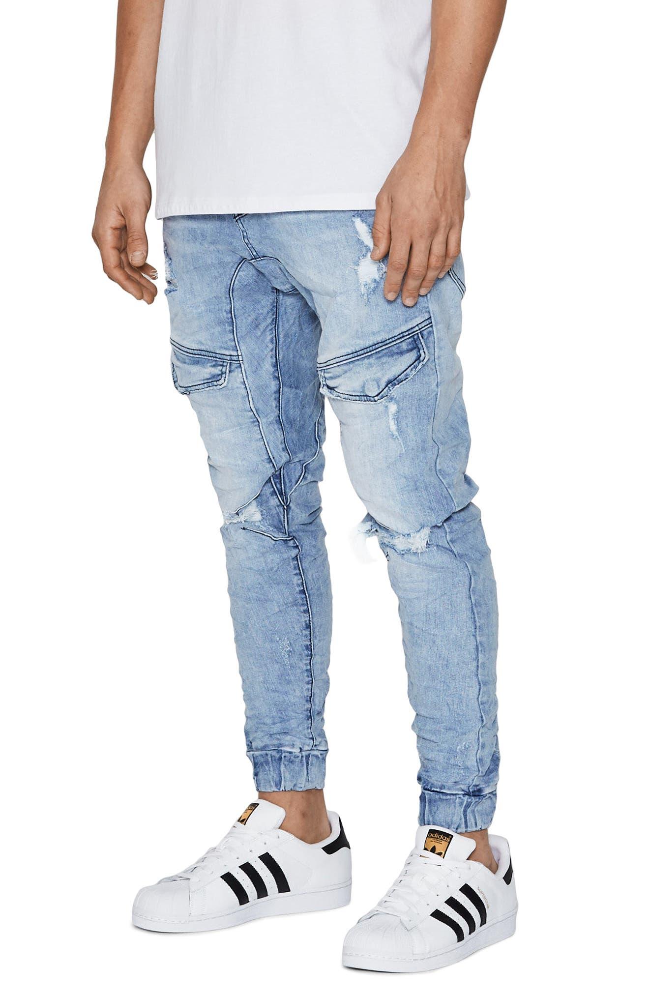 Flight Skinny Denim Jogger Pants,                             Alternate thumbnail 2, color,                             Broken Blue