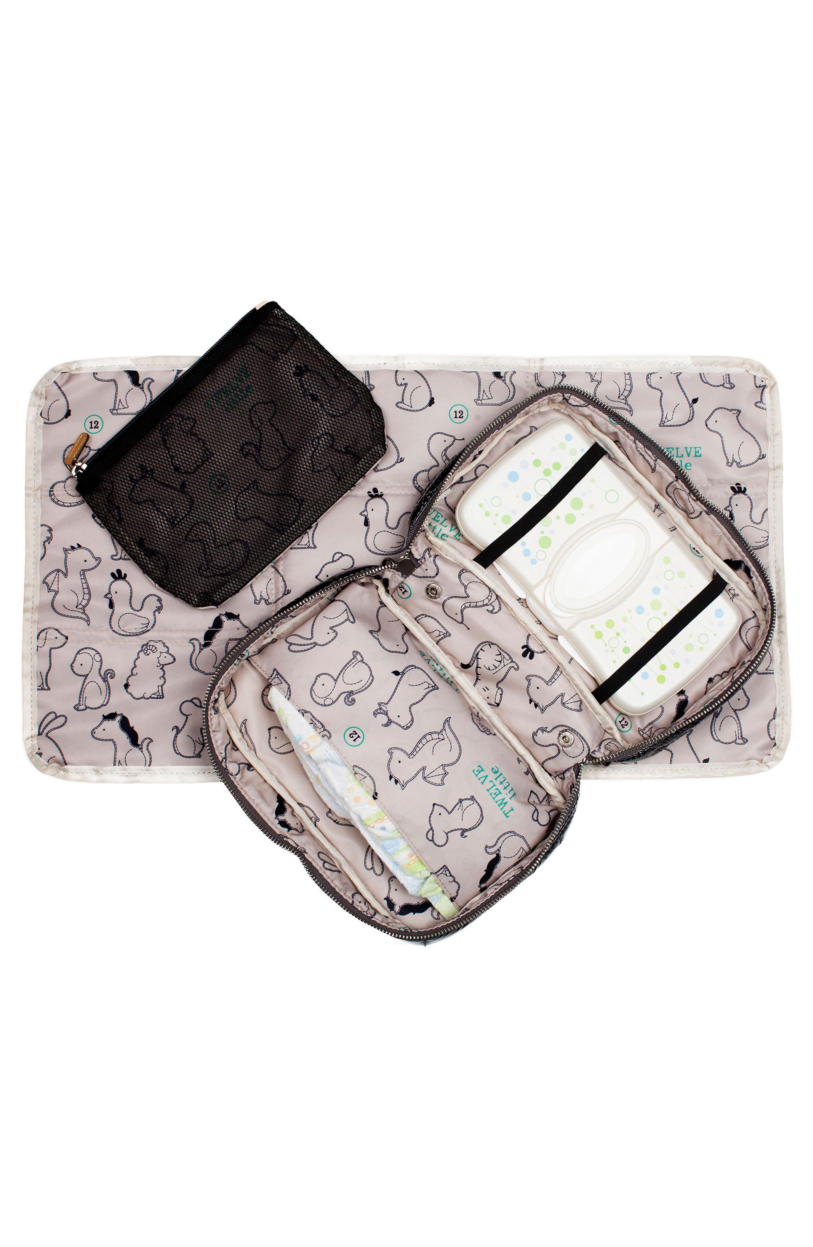 Water Resistant Nylon Diaper Clutch,                             Alternate thumbnail 5, color,                             Black