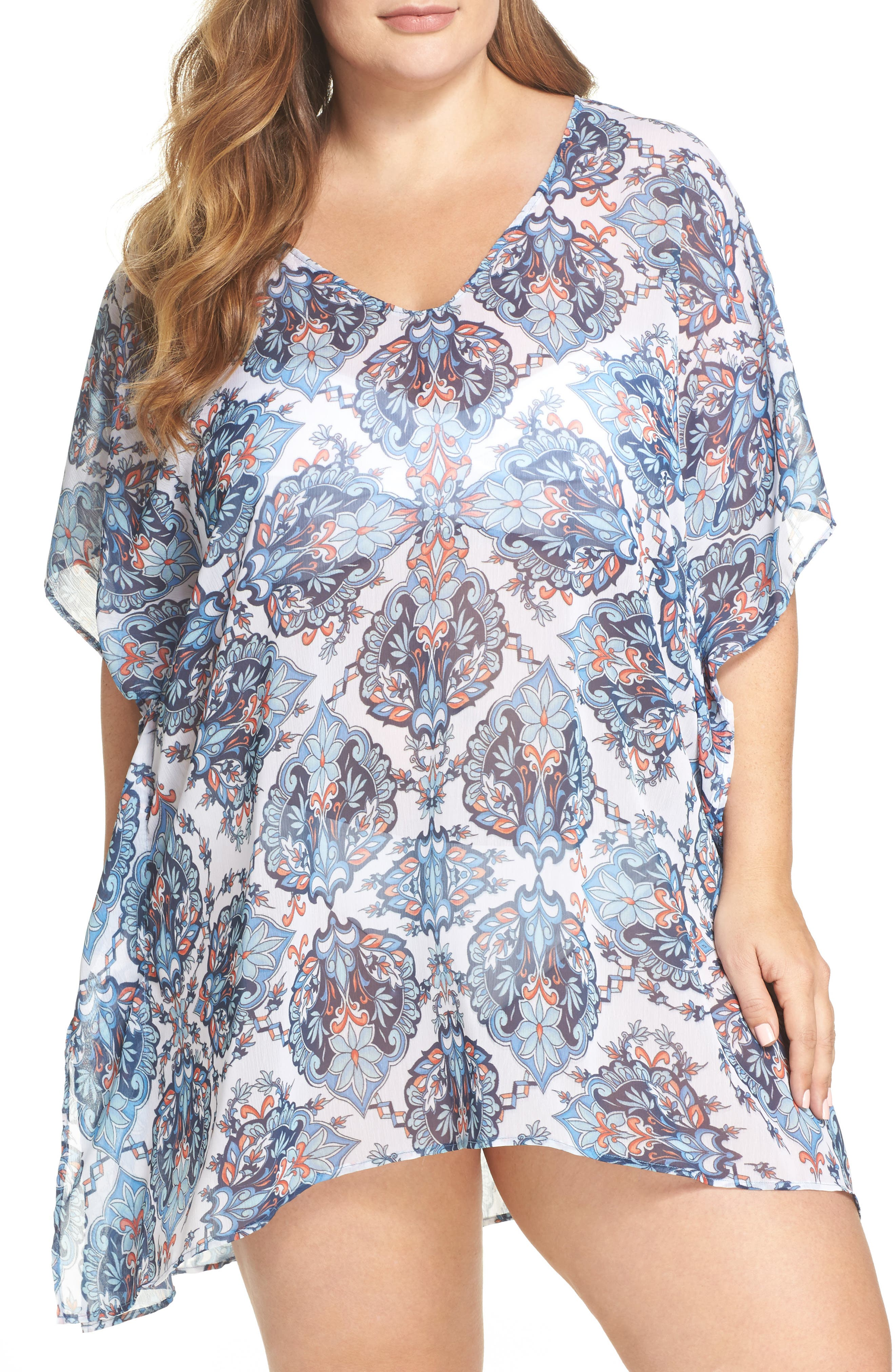Naples Tunic Cover-Up,                             Main thumbnail 1, color,                             Navy Multi