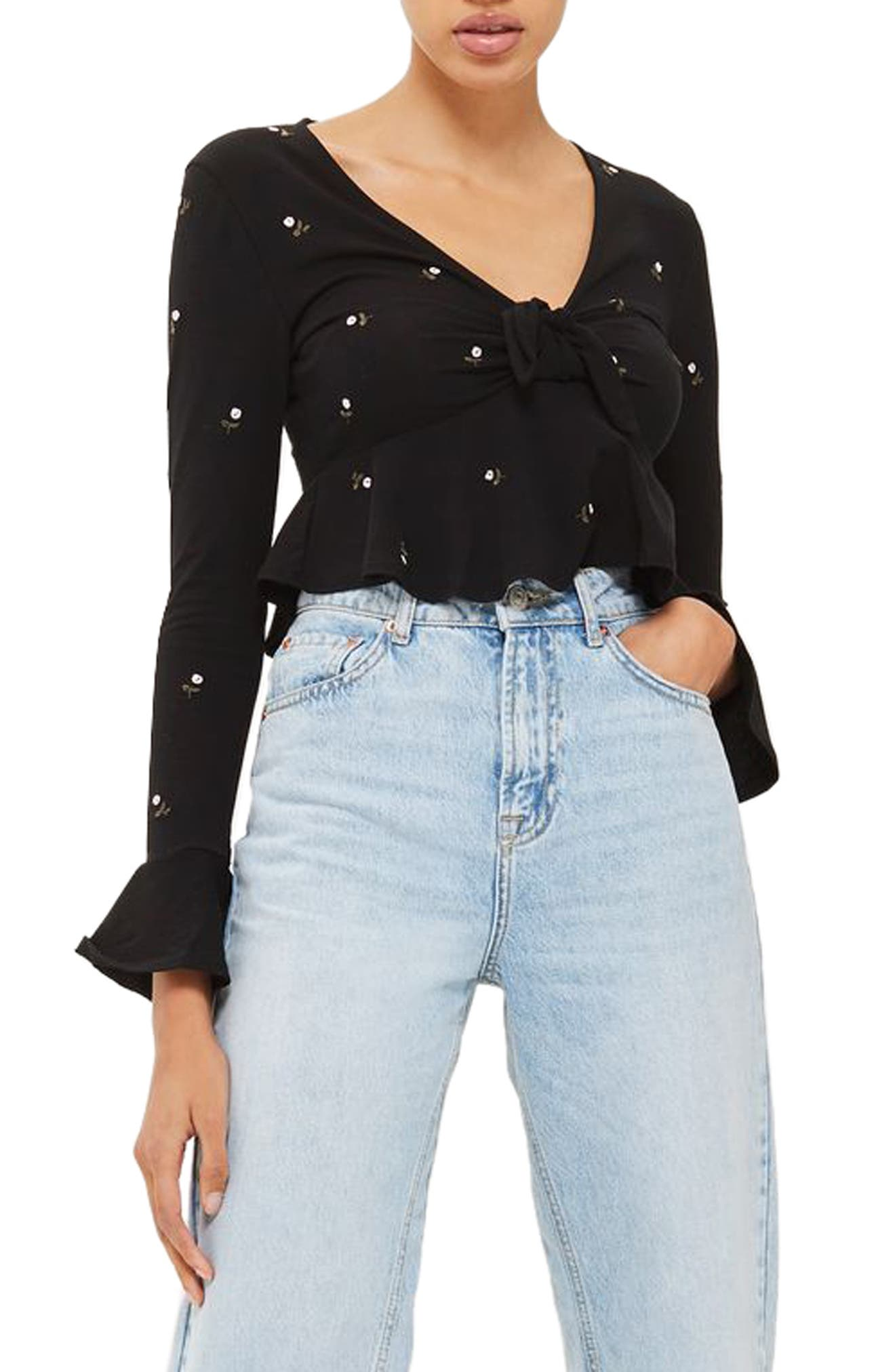 Topshop Embroidered Ditsy Floral Crop Top
