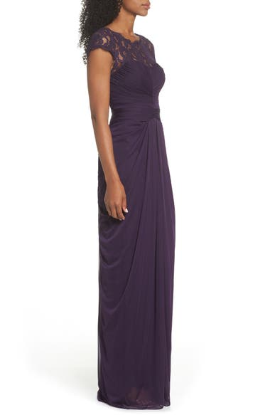 women dresses aubergine yoke chiffon v champagne bodice lace p drape papell neck bridesmaid beaded gown adrianna drapes