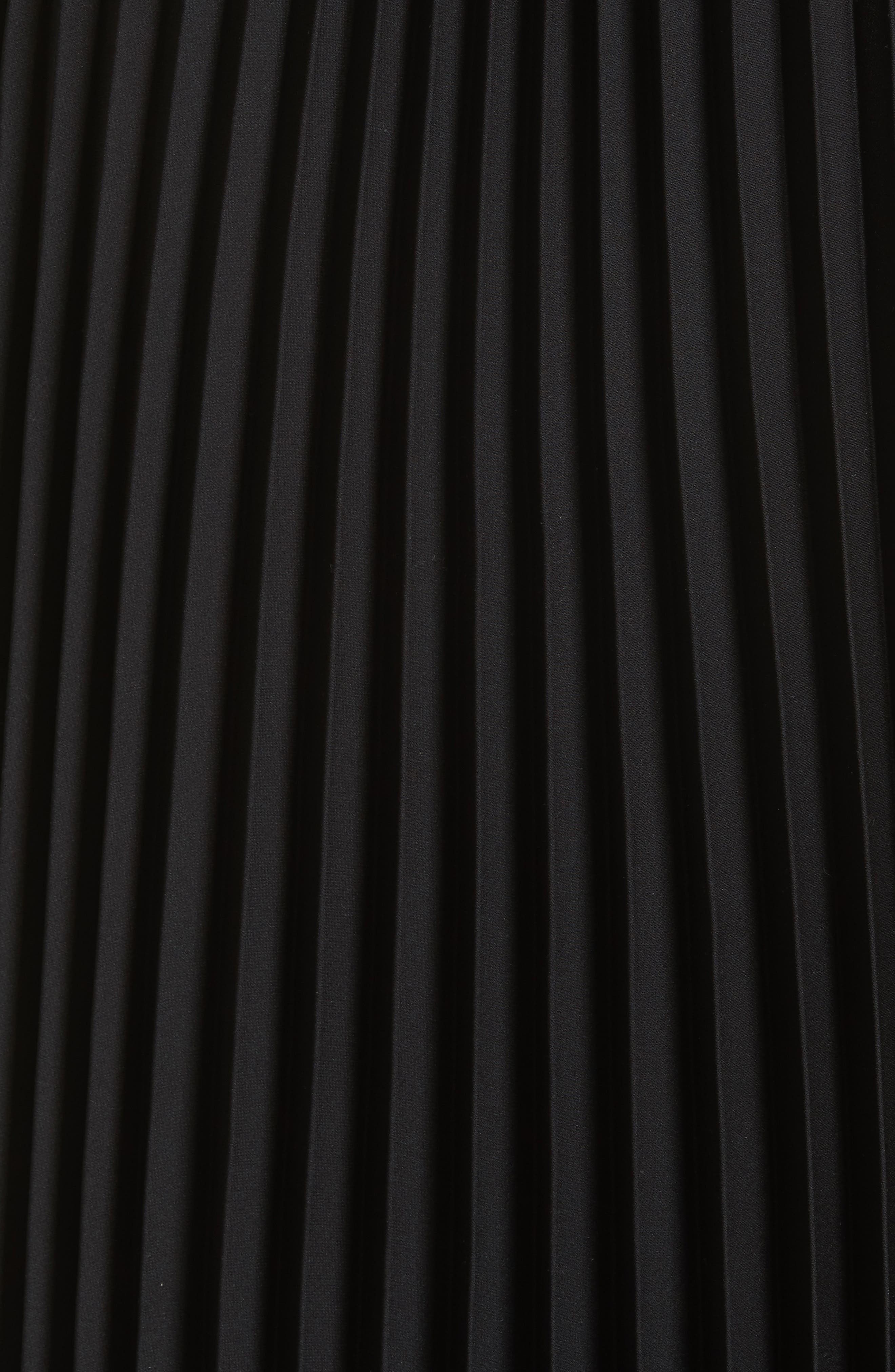 Irene Asymmetrical Pleated Silk Maxi Dress,                             Alternate thumbnail 5, color,                             Black