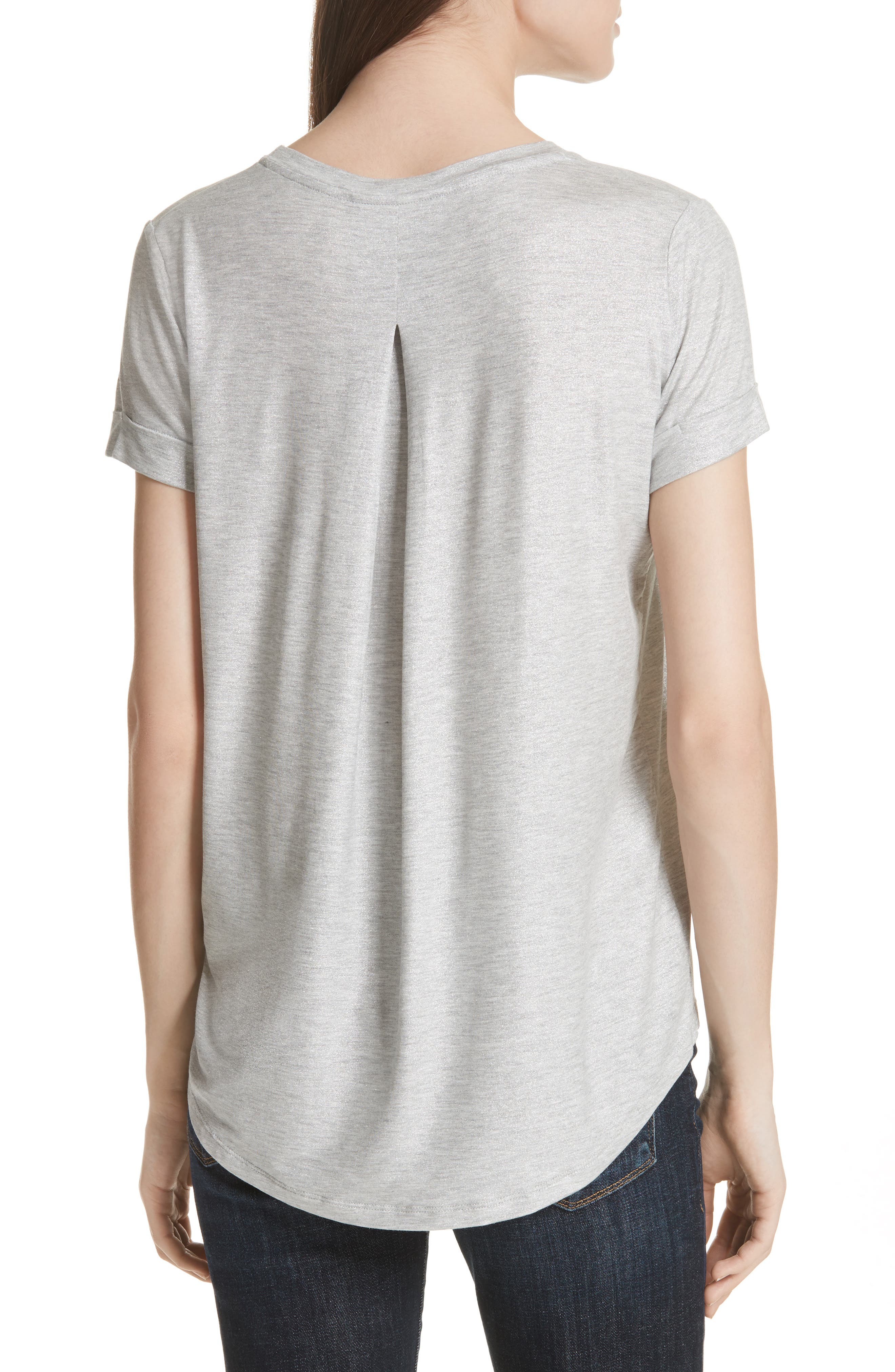 Metallic Short Sleeve Swing Tee,                             Alternate thumbnail 2, color,                             Silver Gris Chine