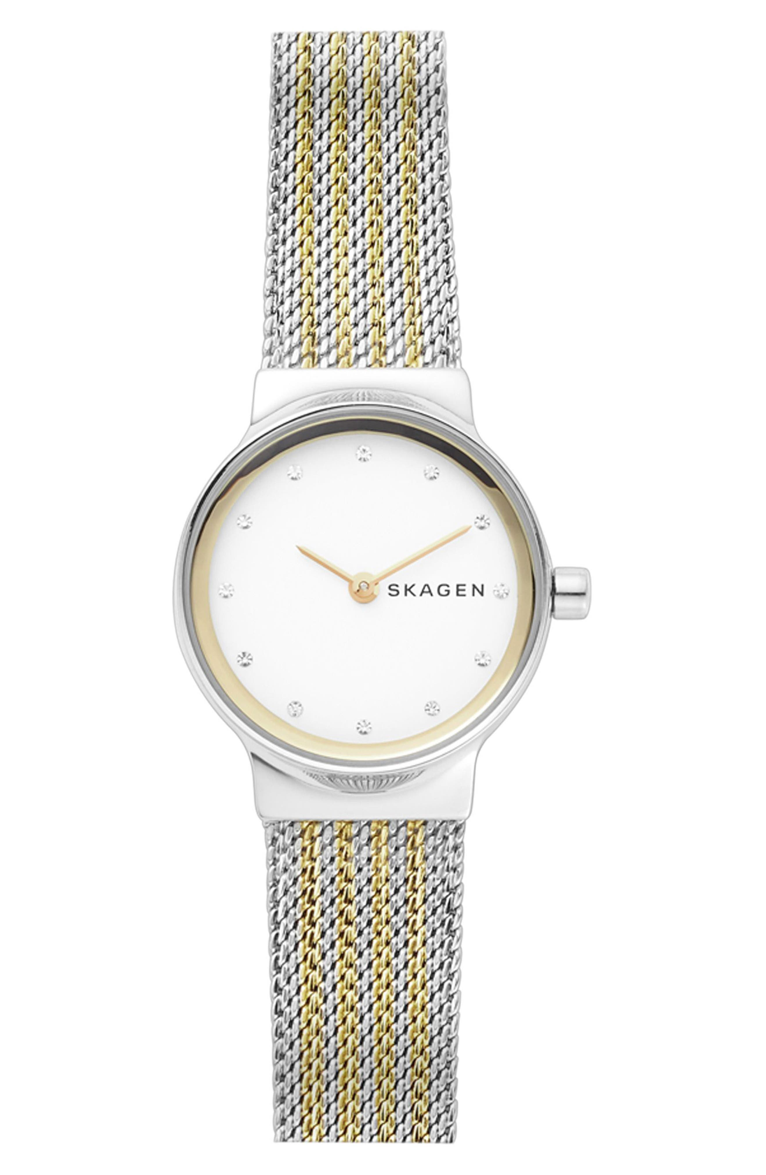 Freja Crystal Accent Mesh Strap Watch, 26mm,                         Main,                         color, Silver/ White/ Gold