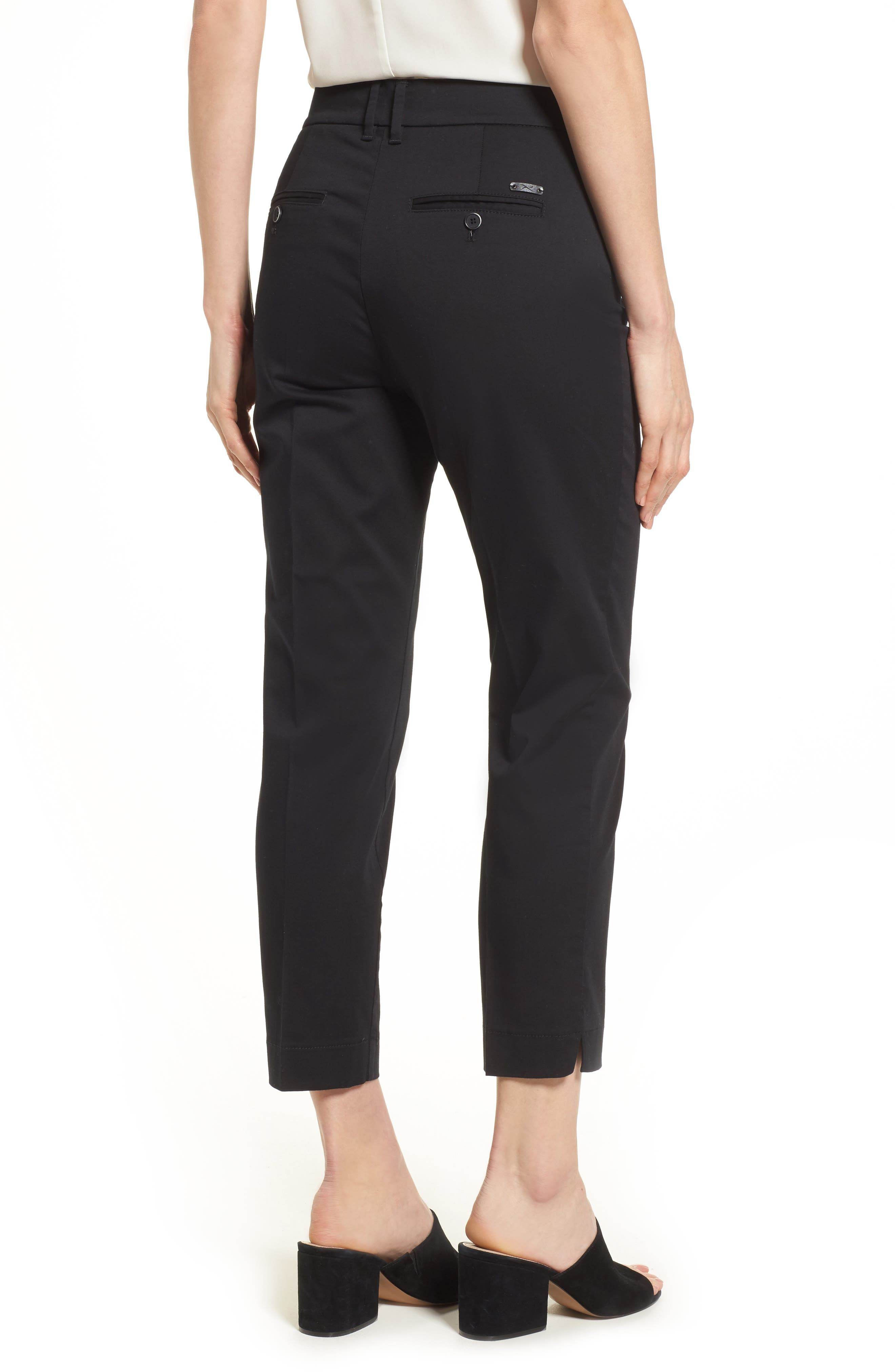 Straight Leg Cropped Trousers,                             Alternate thumbnail 2, color,                             Black