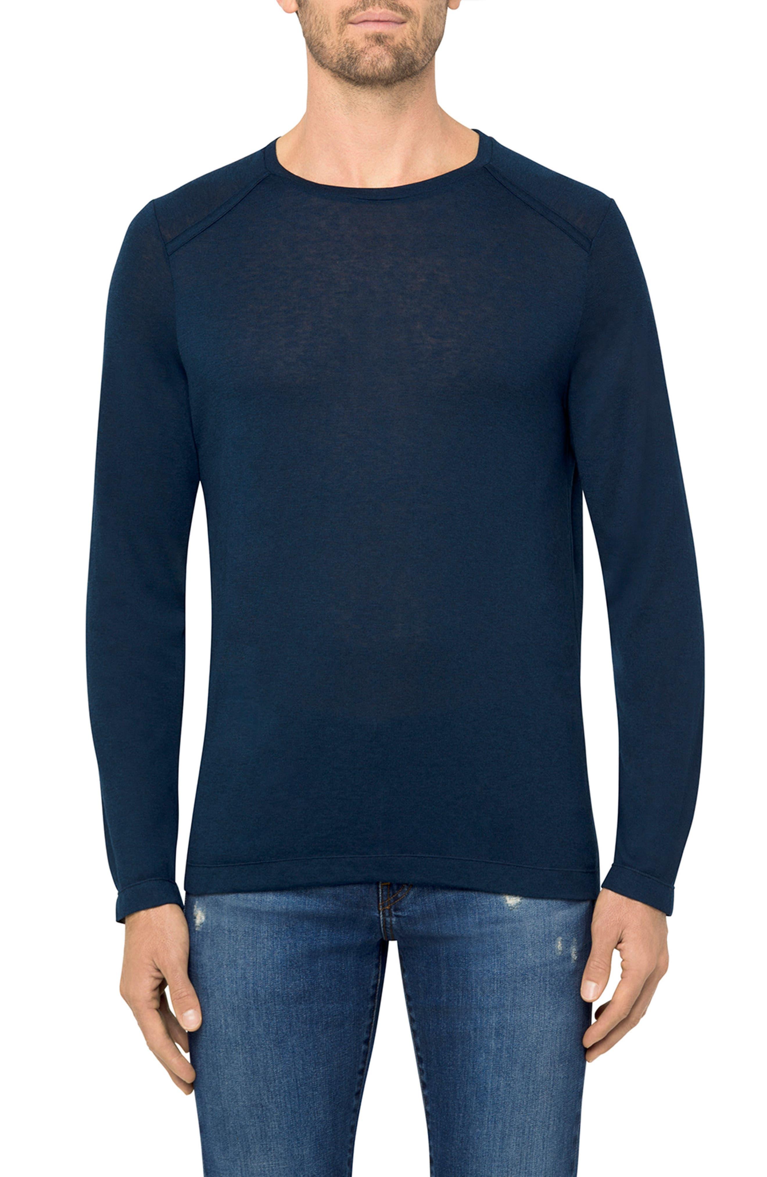 Grandpa Long Sleeve Linen T-Shirt,                         Main,                         color, Navy