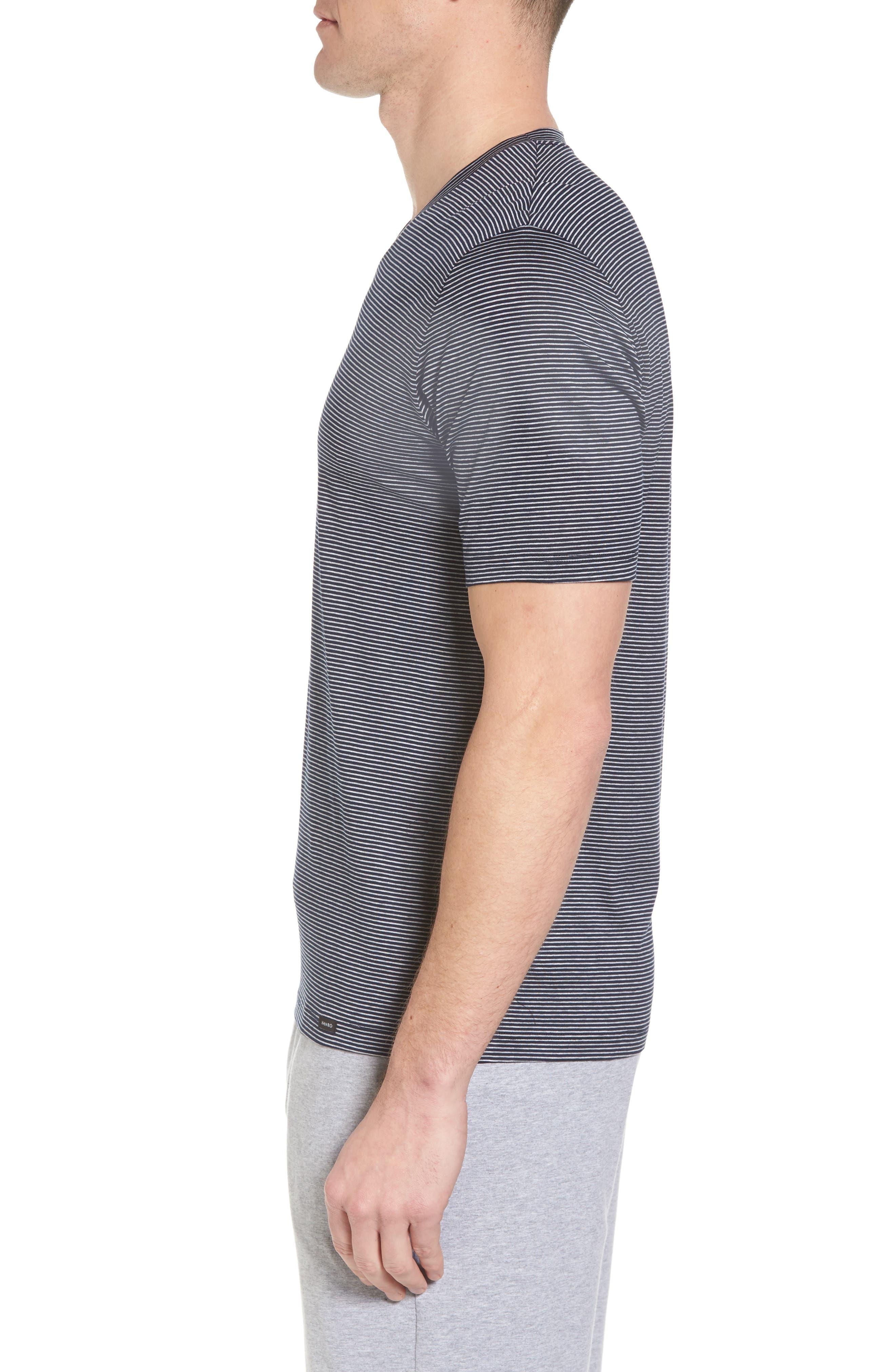 Sporty Stripe Cotton V-Neck T-Shirt,                             Alternate thumbnail 3, color,                             Marine Grey Stripe