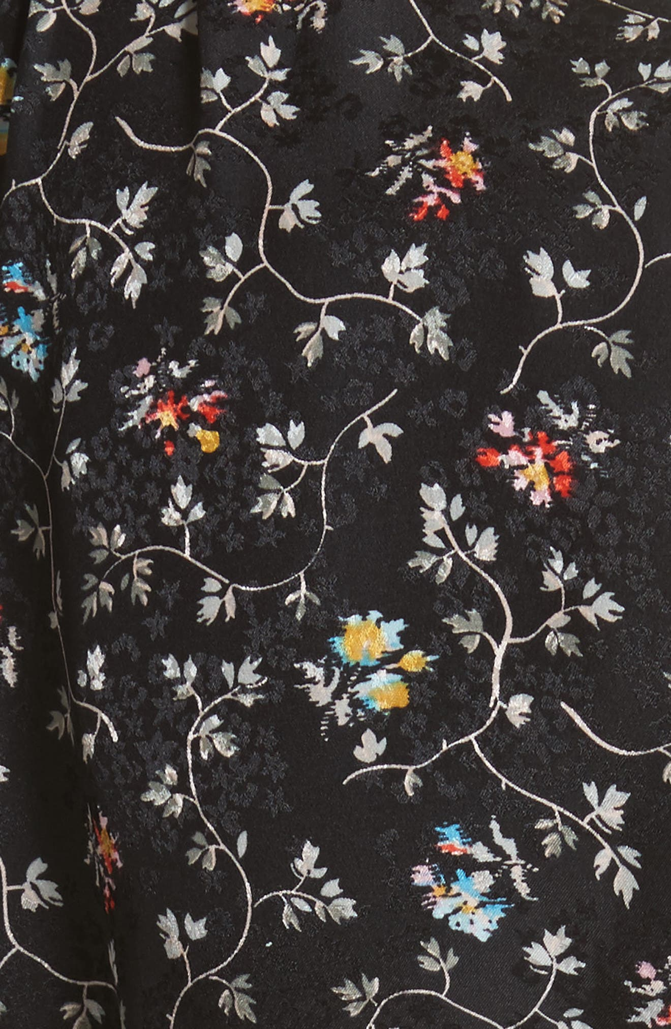 Floral Vine Silk Shirtdress,                             Alternate thumbnail 5, color,                             Black Vine Print