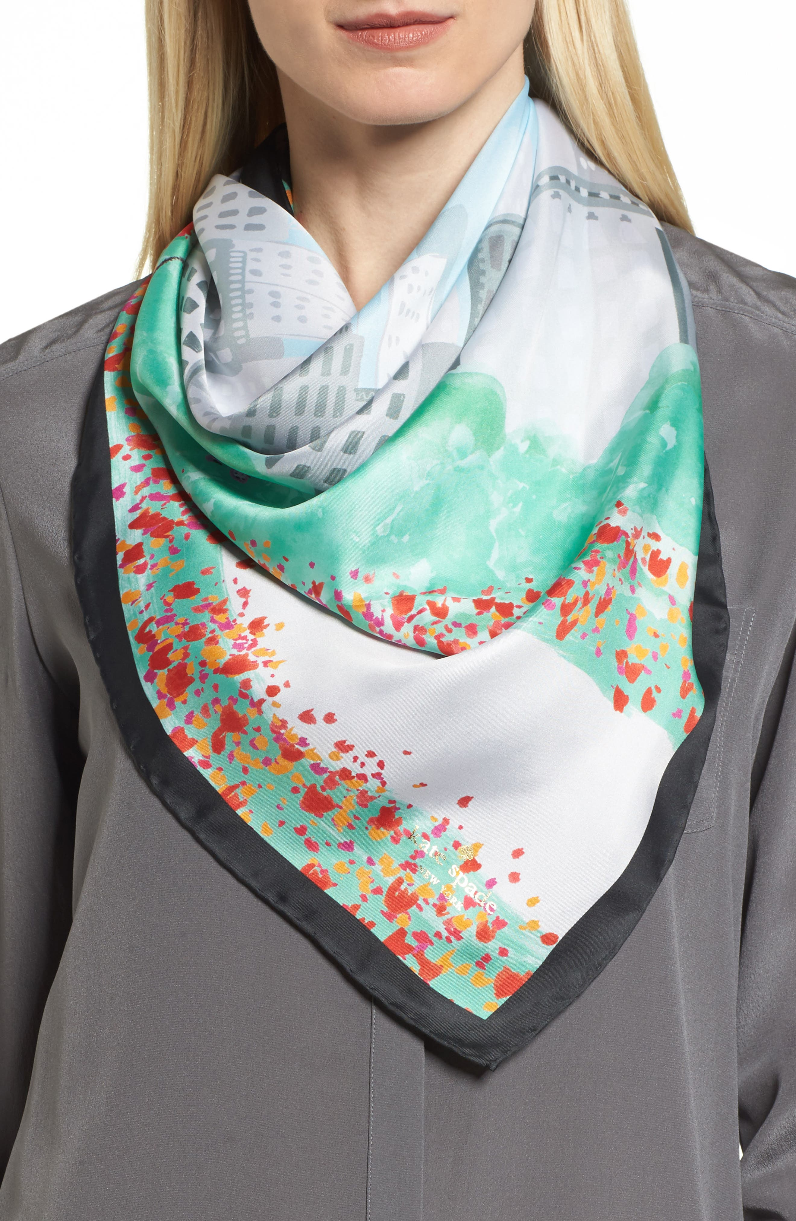 nyc scene square silk scarf,                             Main thumbnail 1, color,                             Black