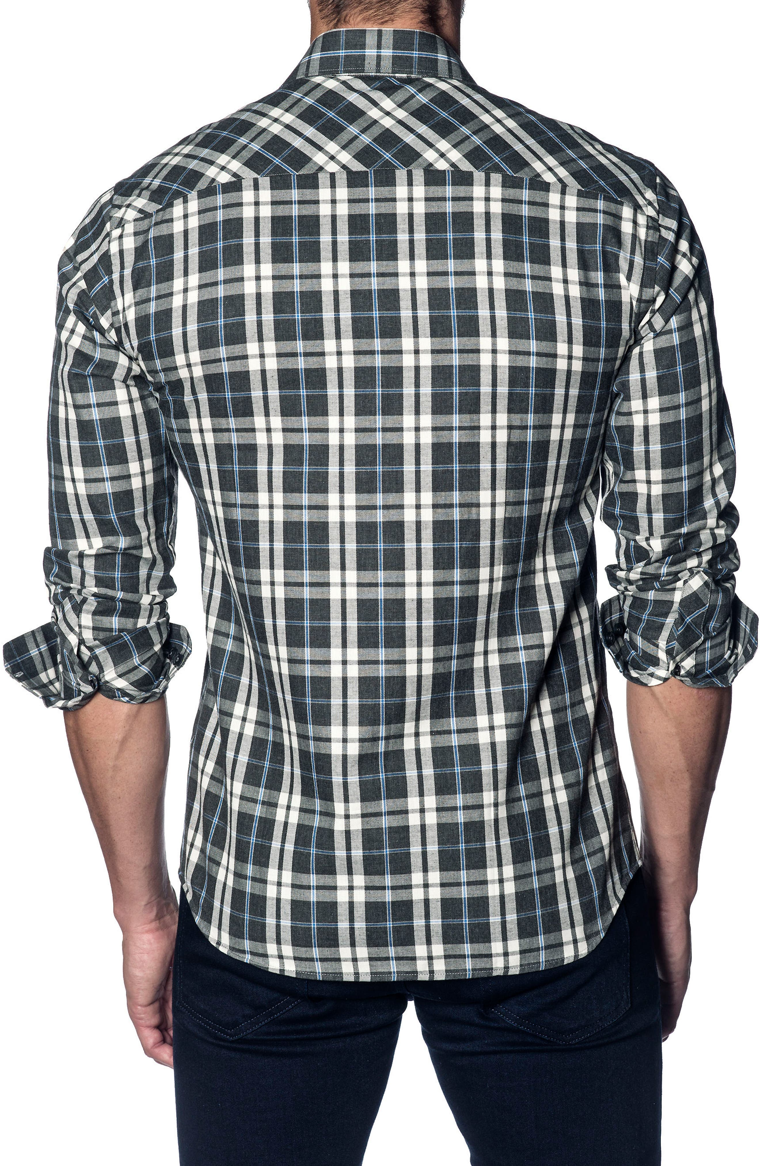 Slim Fit Plaid Sport Shirt,                             Alternate thumbnail 2, color,                             Grey White Plaid