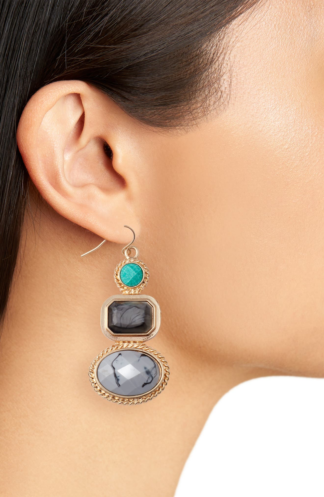 Stone Drop Earrings,                             Alternate thumbnail 2, color,                             Grey
