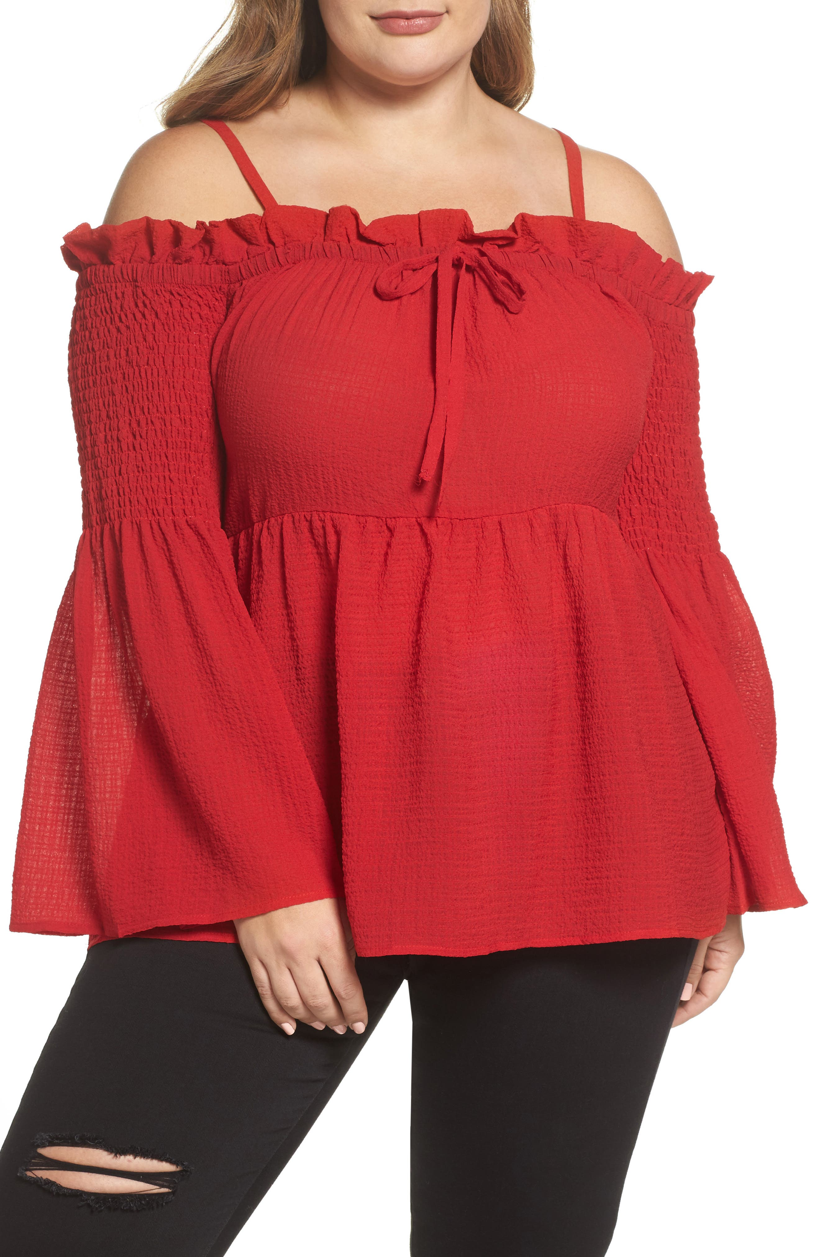 Off the Shoulder Textured Top,                             Main thumbnail 1, color,                             Red