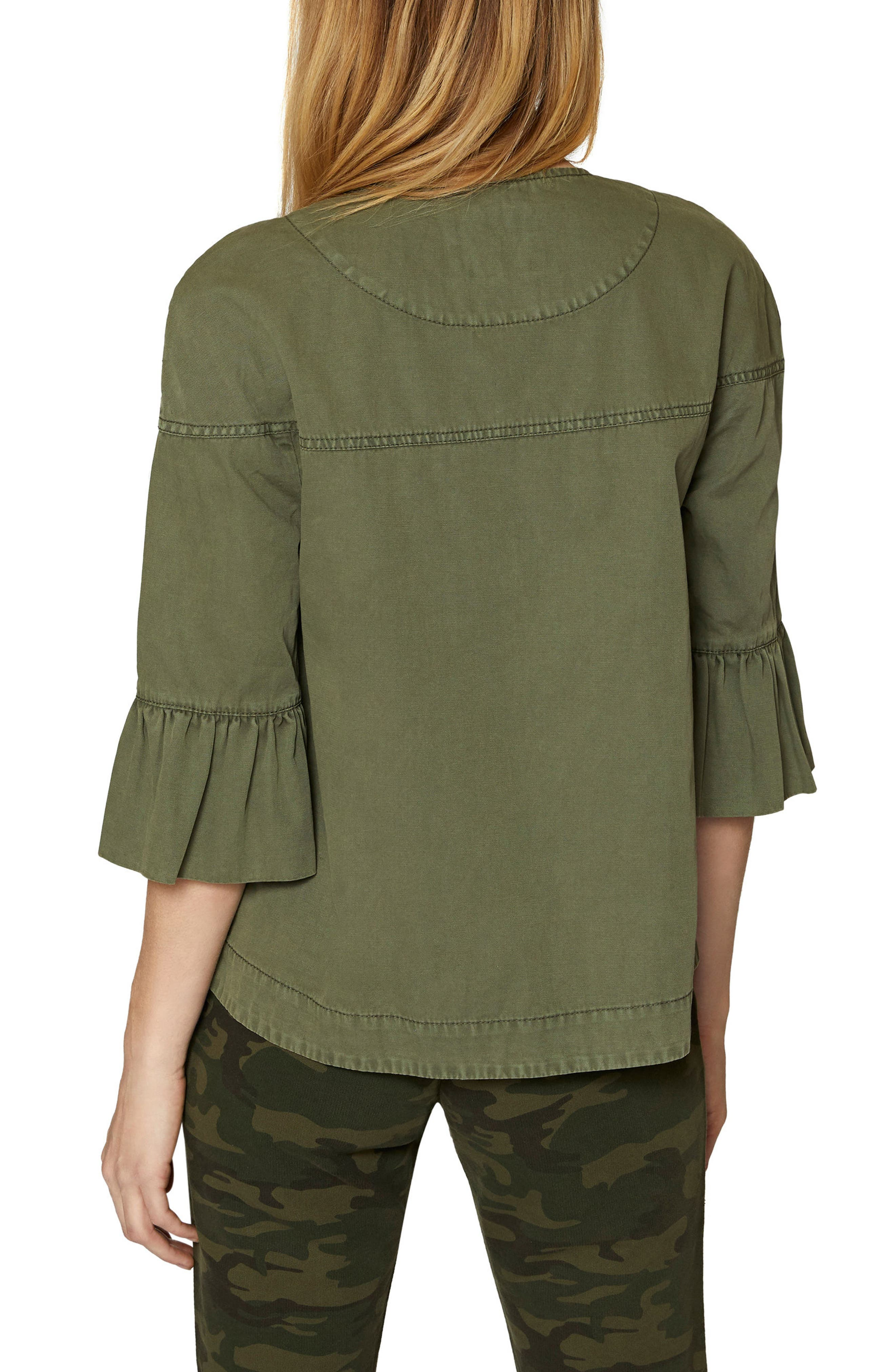 Scout Ruffle Sleeve Jacket,                             Alternate thumbnail 2, color,                             Cadet