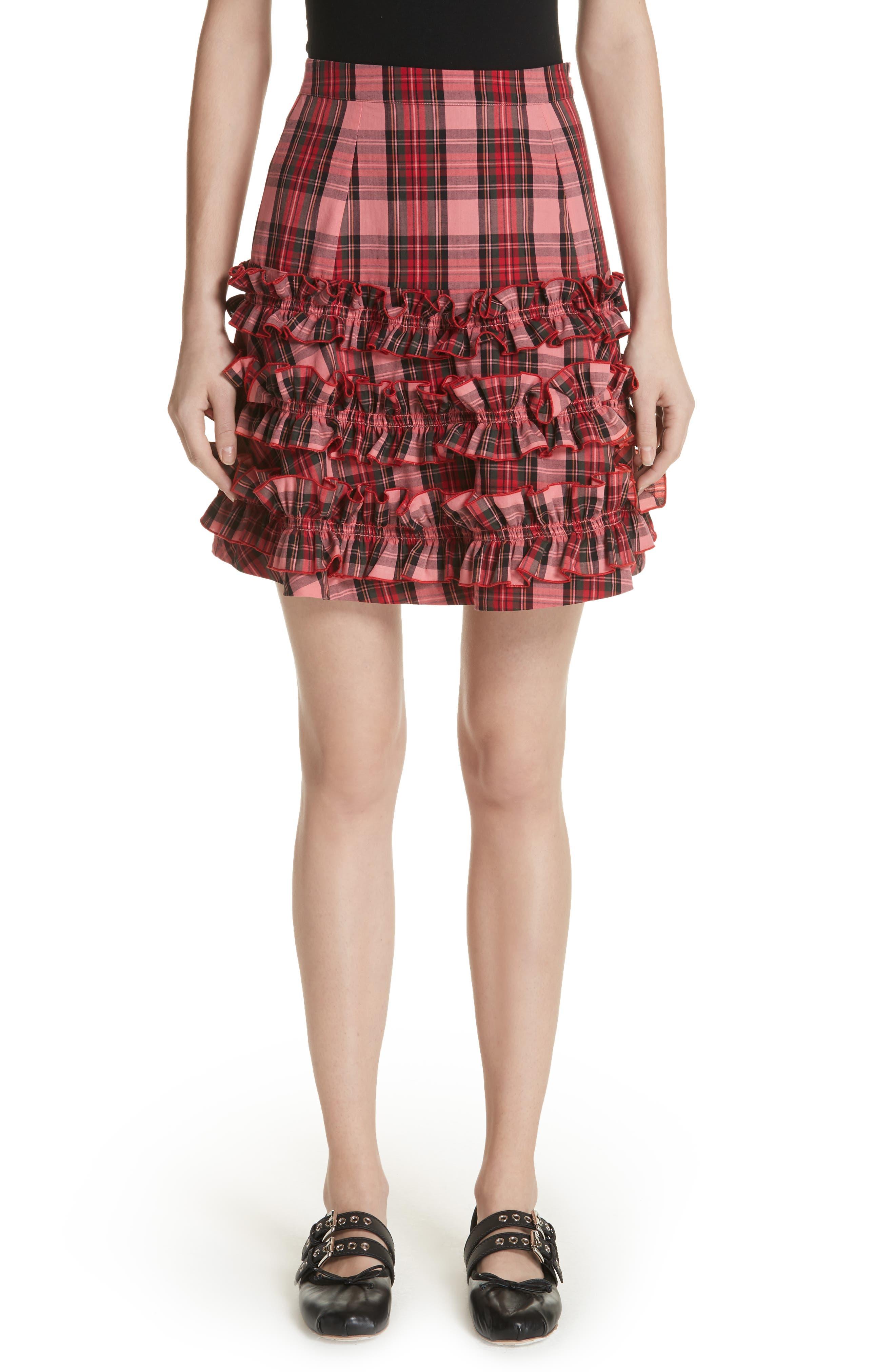 Em Ruffle Tartan Skirt,                         Main,                         color, Pink