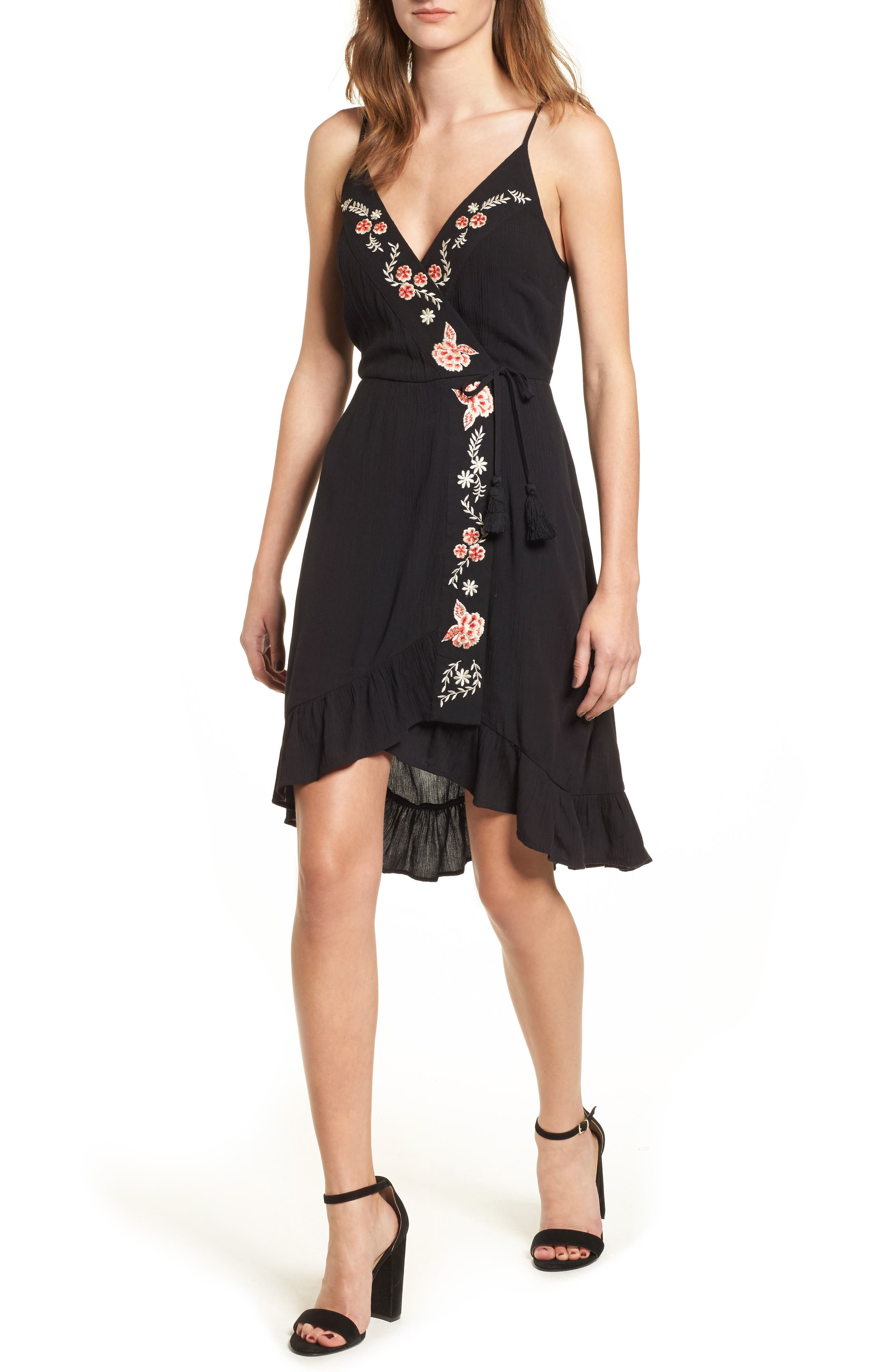 Floral Embroidered Faux Wrap Dress,                         Main,                         color, Black/ Red