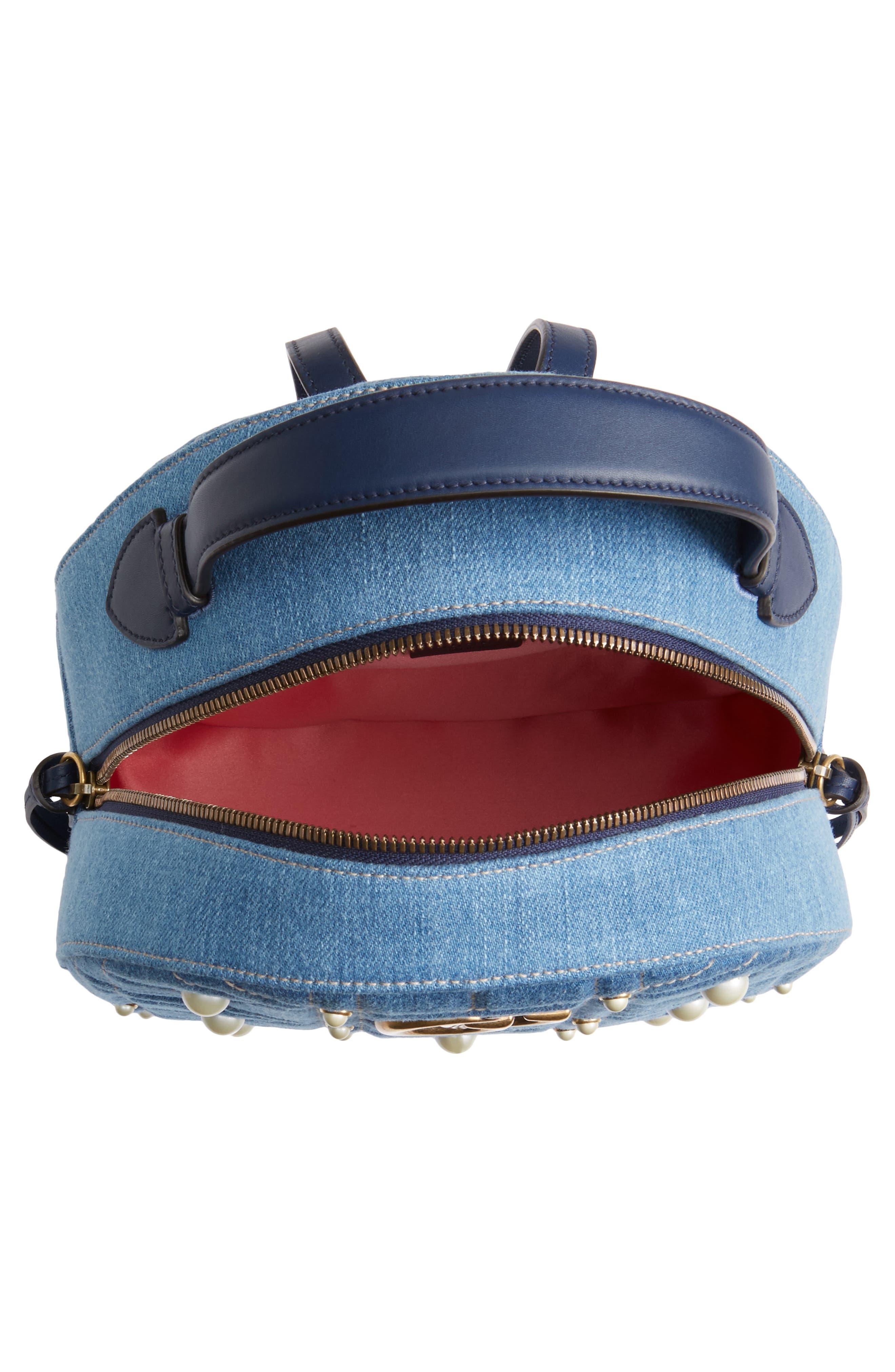 GG Marmont 2.0 Imitation Pearl Embellished Denim Backpack,                             Alternate thumbnail 4, color,                             Denim Blue