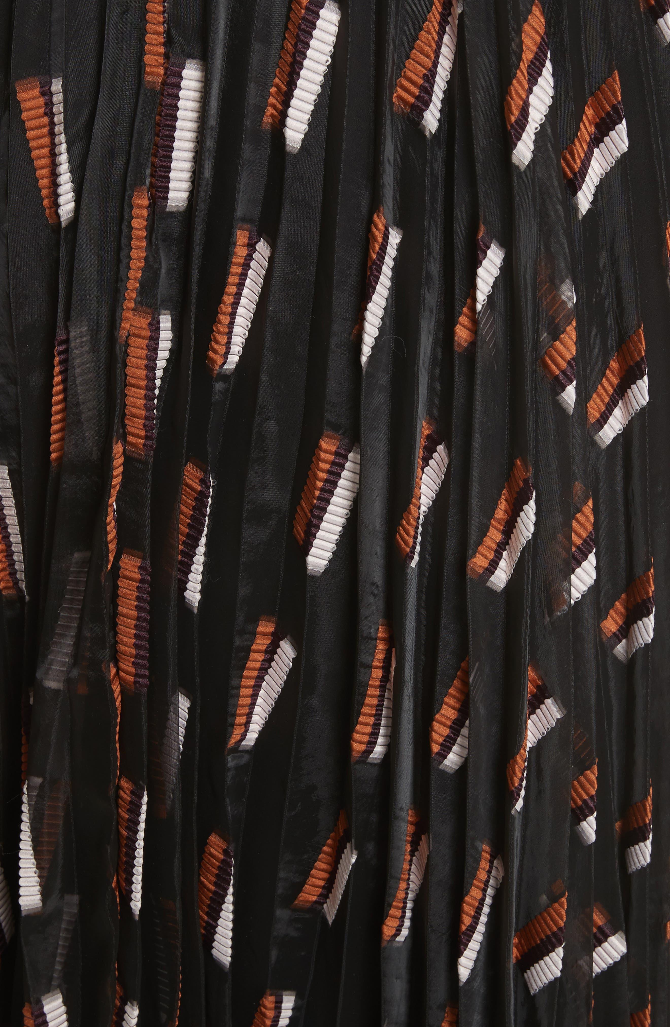 Fil Coupé Midi Dress,                             Alternate thumbnail 4, color,                             Ginger Multi