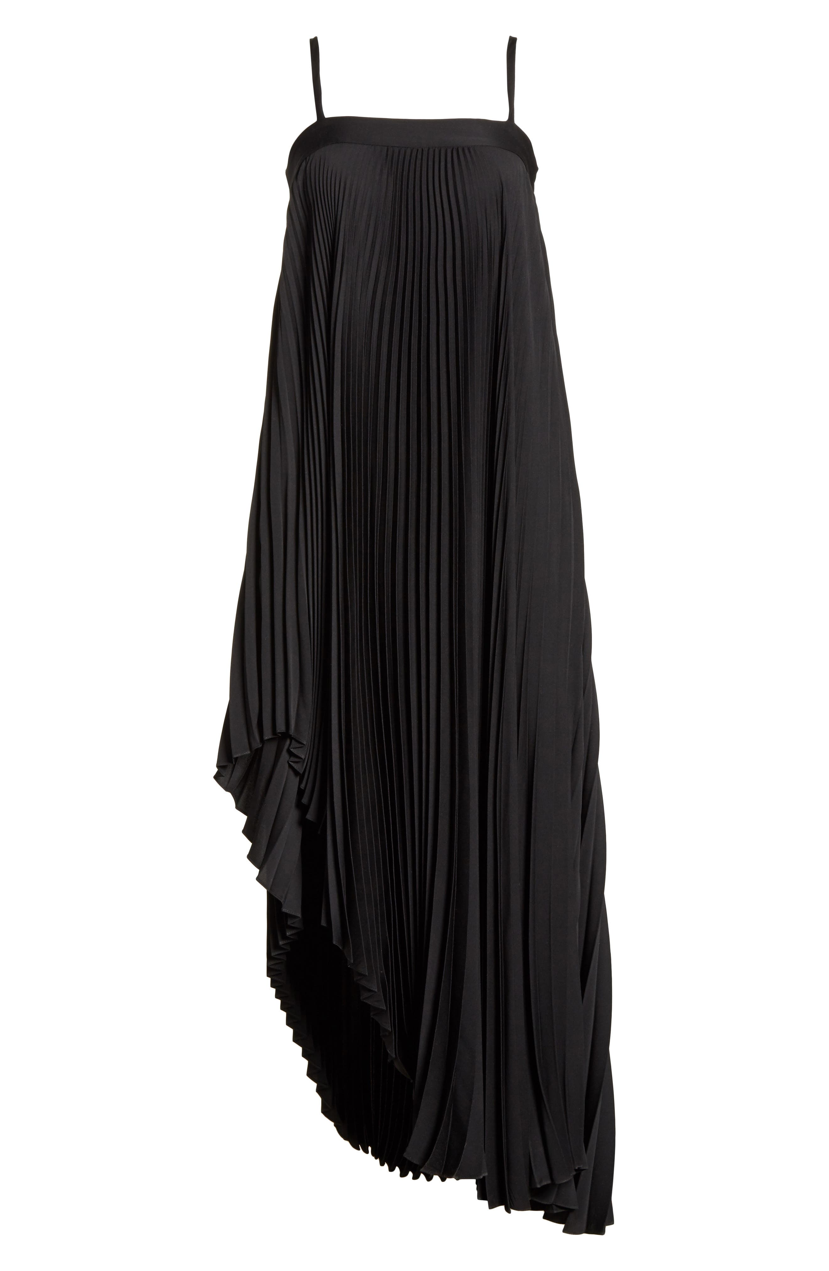 Irene Asymmetrical Pleated Silk Maxi Dress,                             Alternate thumbnail 6, color,                             Black