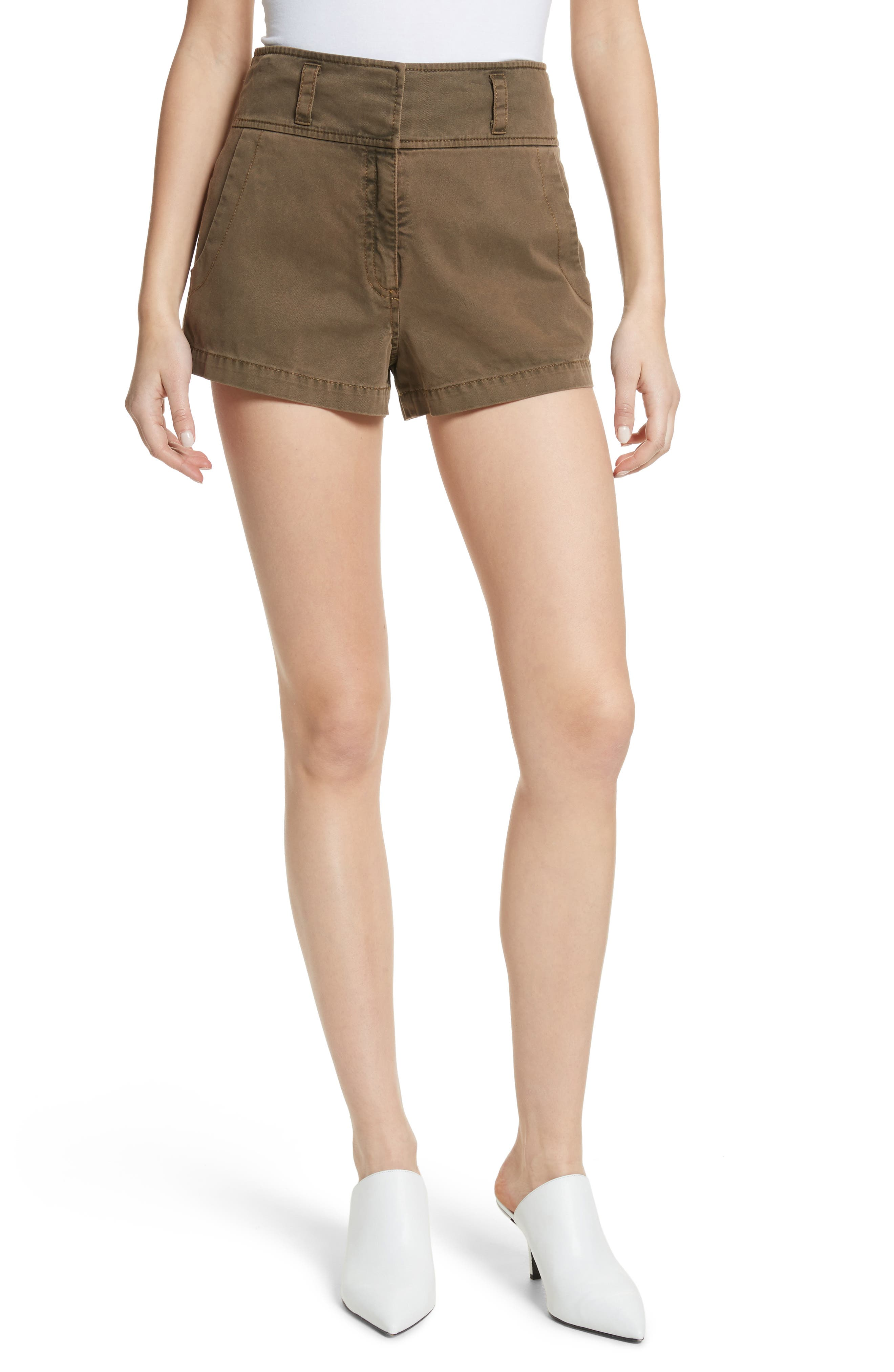 Tour Les Jour Shiloh Shorts,                             Main thumbnail 1, color,                             Olive/ Amber
