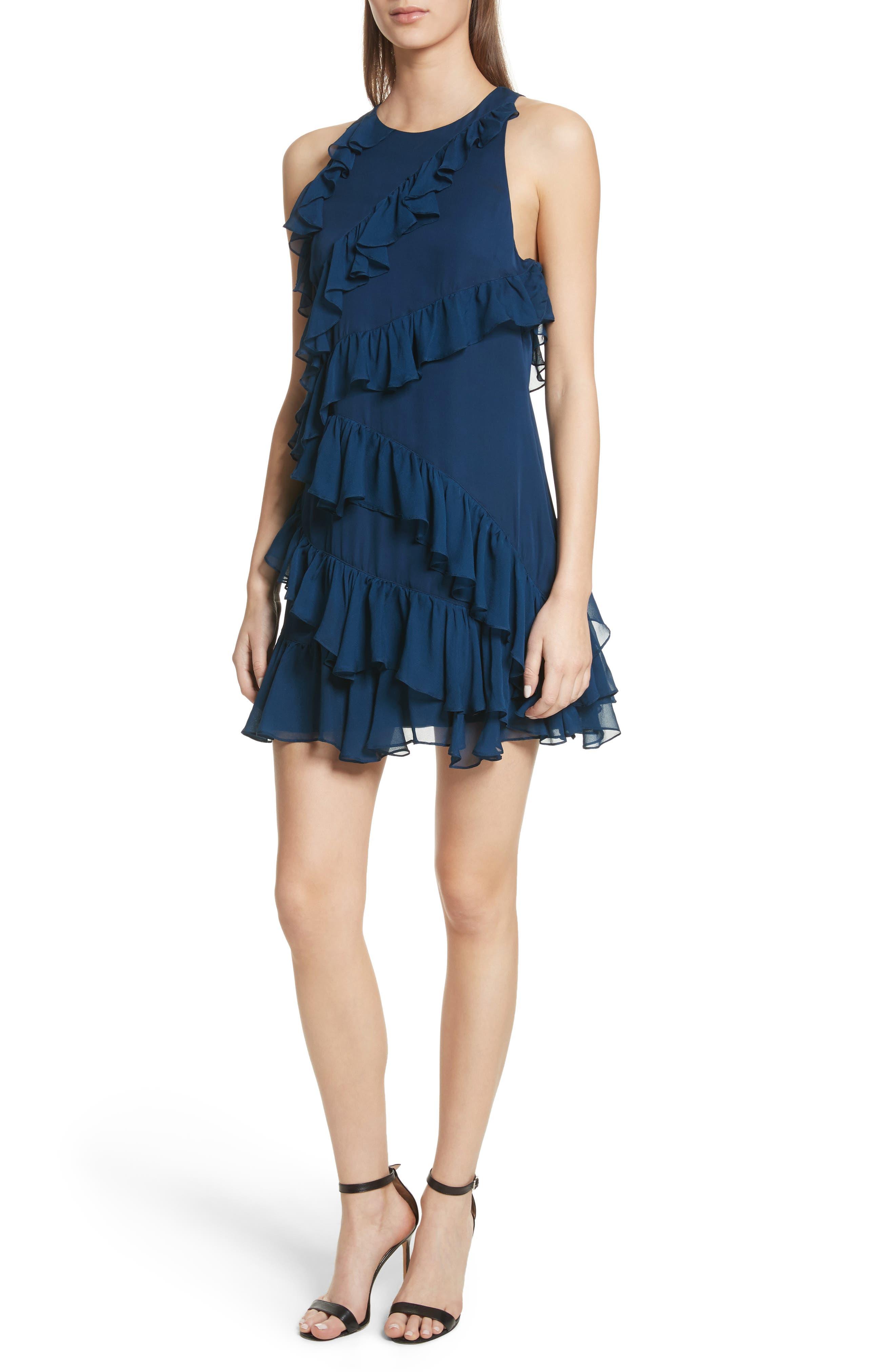 Taghrid Ruffle Silk Dress,                             Main thumbnail 1, color,                             Lapis