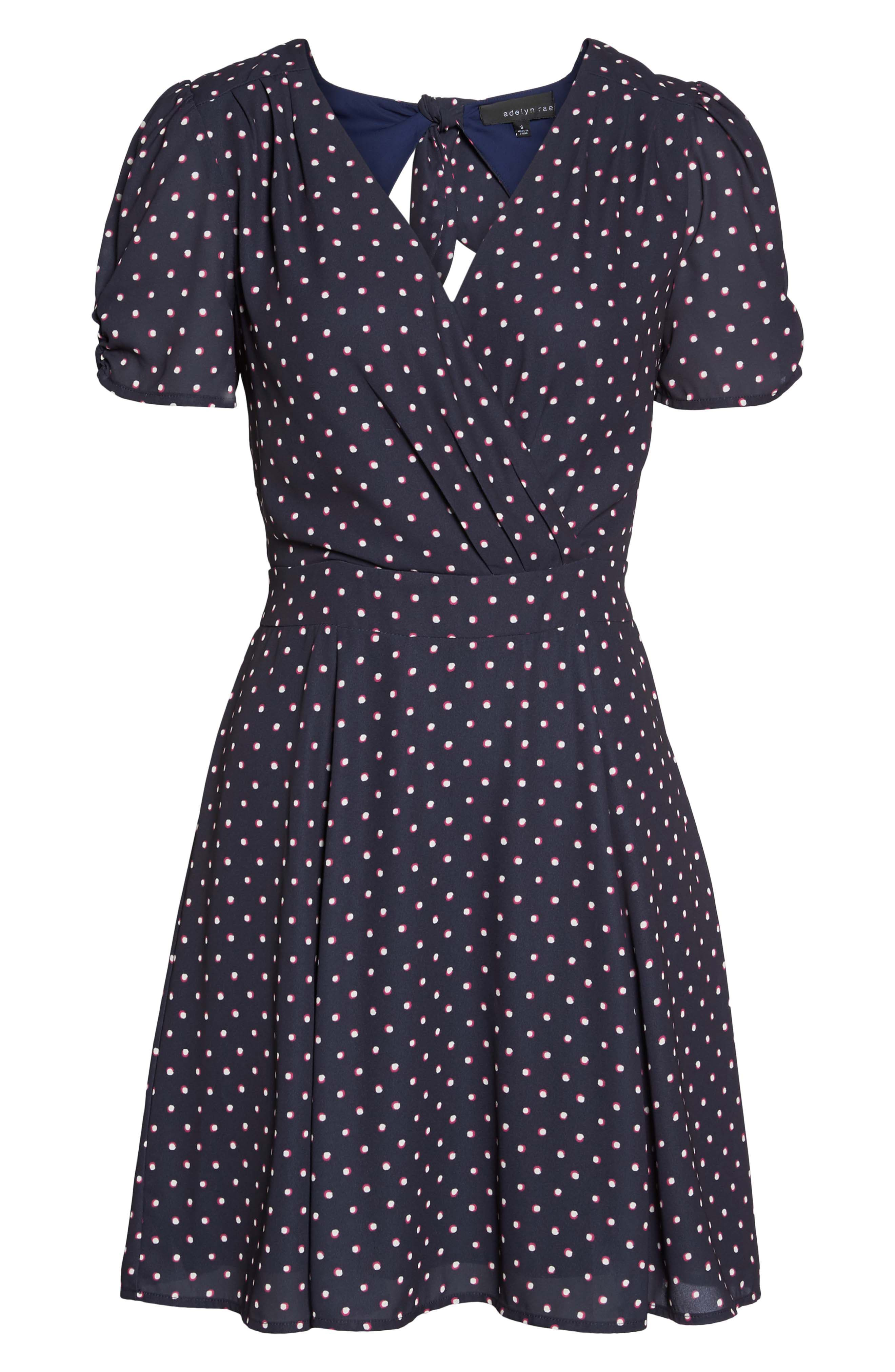 Vera Fit & Flare Dress,                             Alternate thumbnail 6, color,                             Navy/ Fuchsia