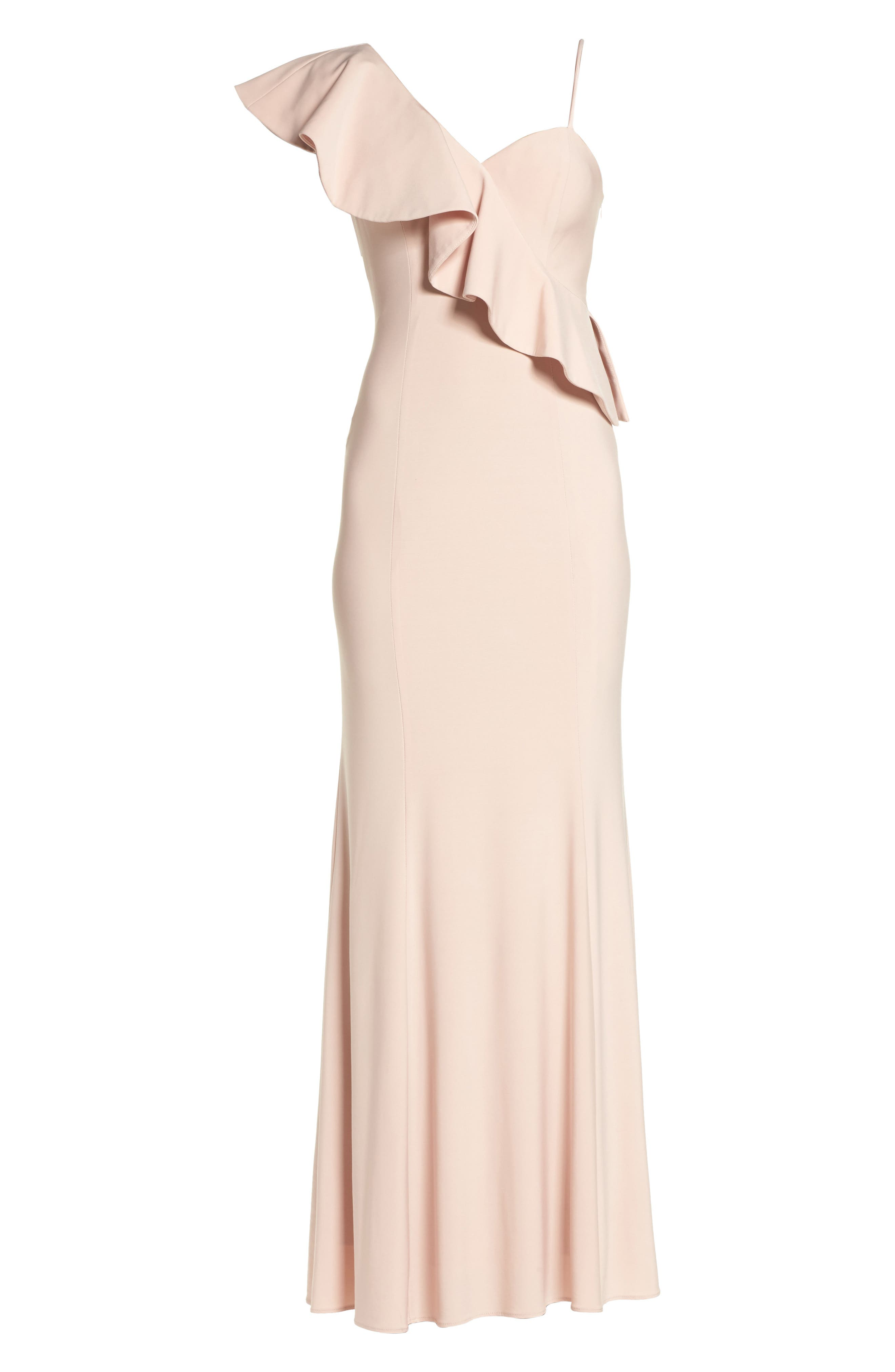 Ruffle Knit One-Shoulder Gown,                             Alternate thumbnail 6, color,                             Blush