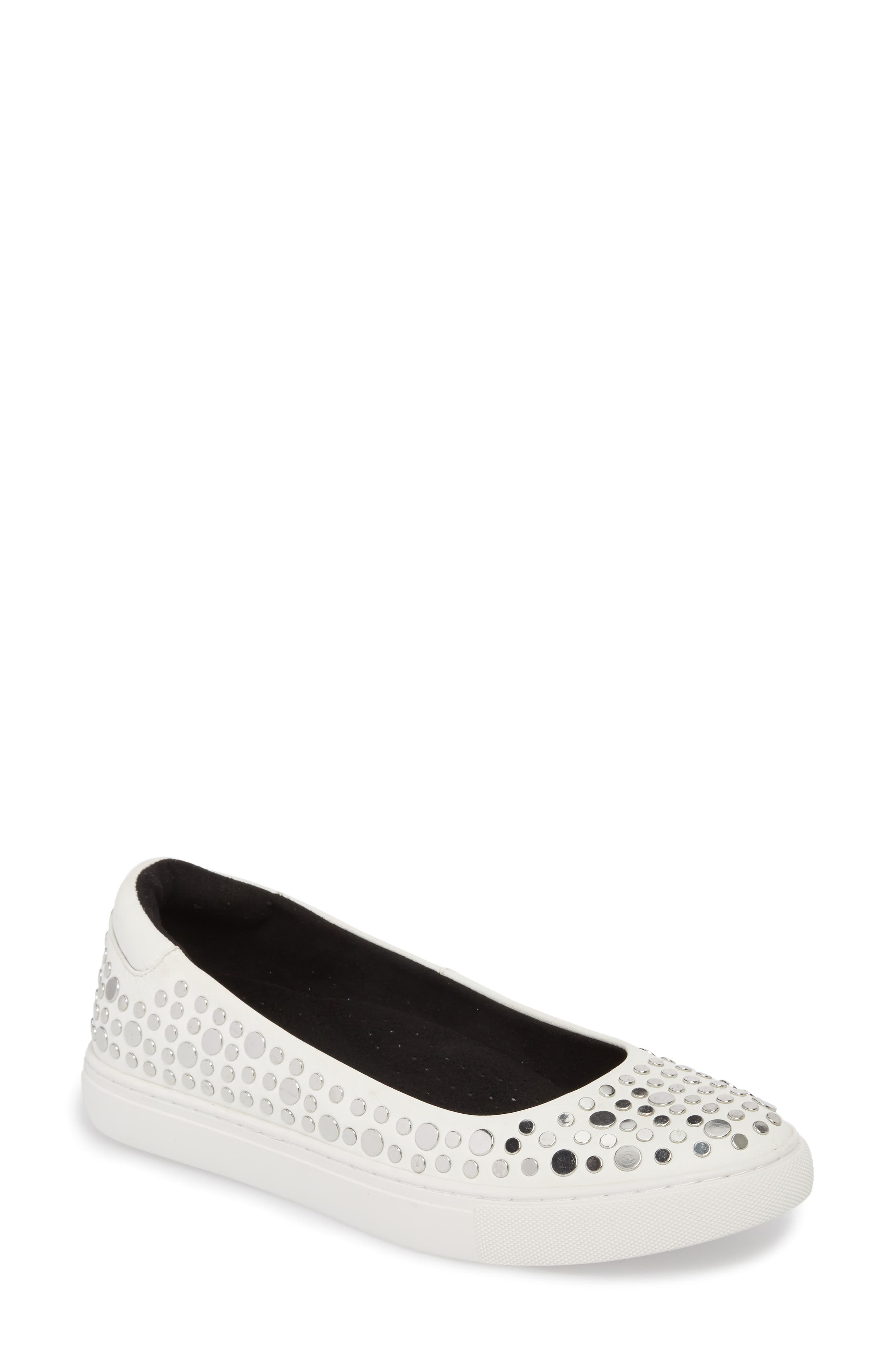 Kassie Studded Flat,                         Main,                         color, White Leather