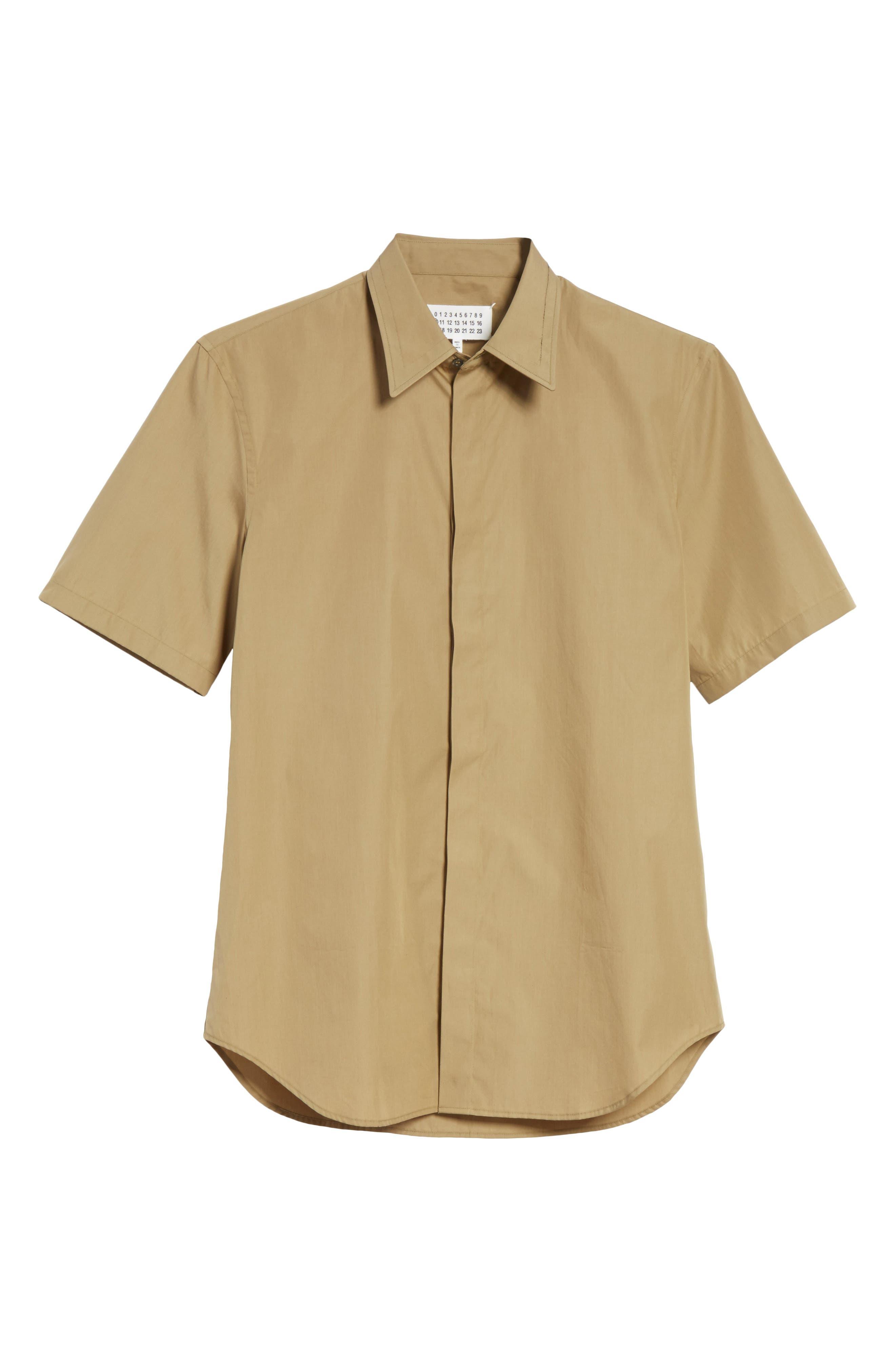 Poplin Short Sleeve Woven Shirt,                             Alternate thumbnail 6, color,                             Olive