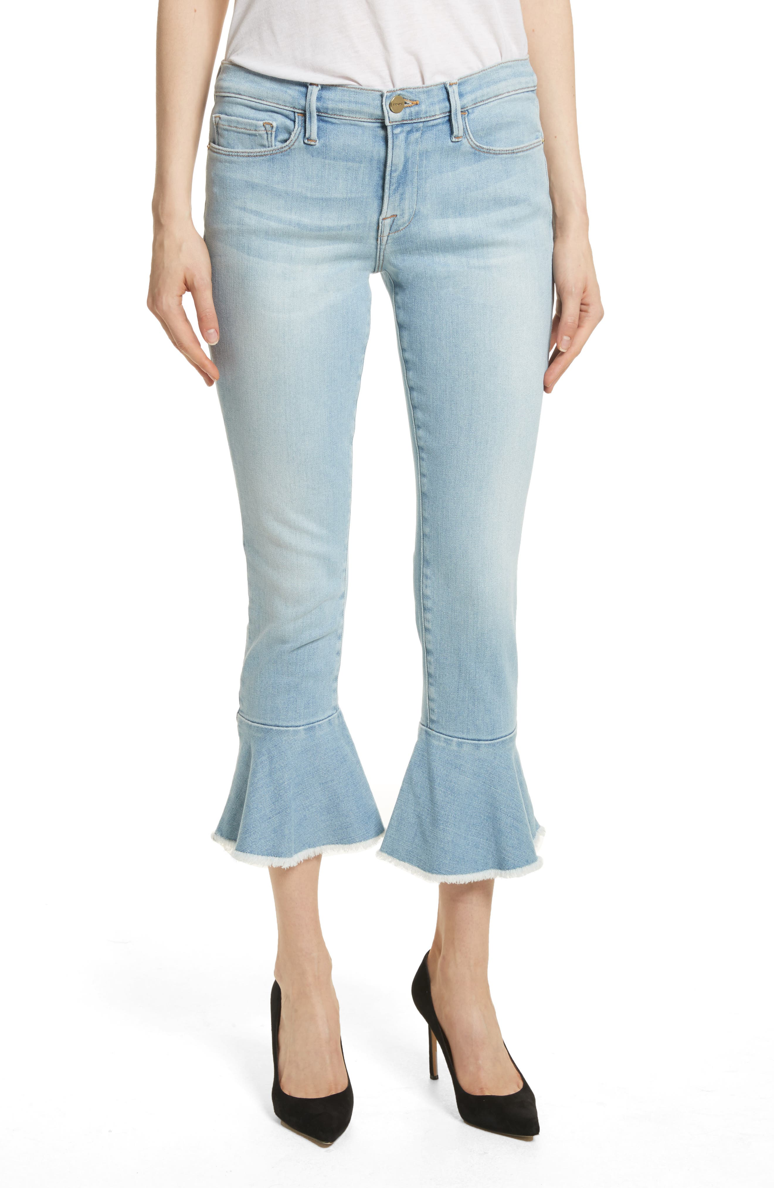 Le Skinny de Jeanne Flounce Skinny Jeans,                             Main thumbnail 1, color,                             Limer Stone