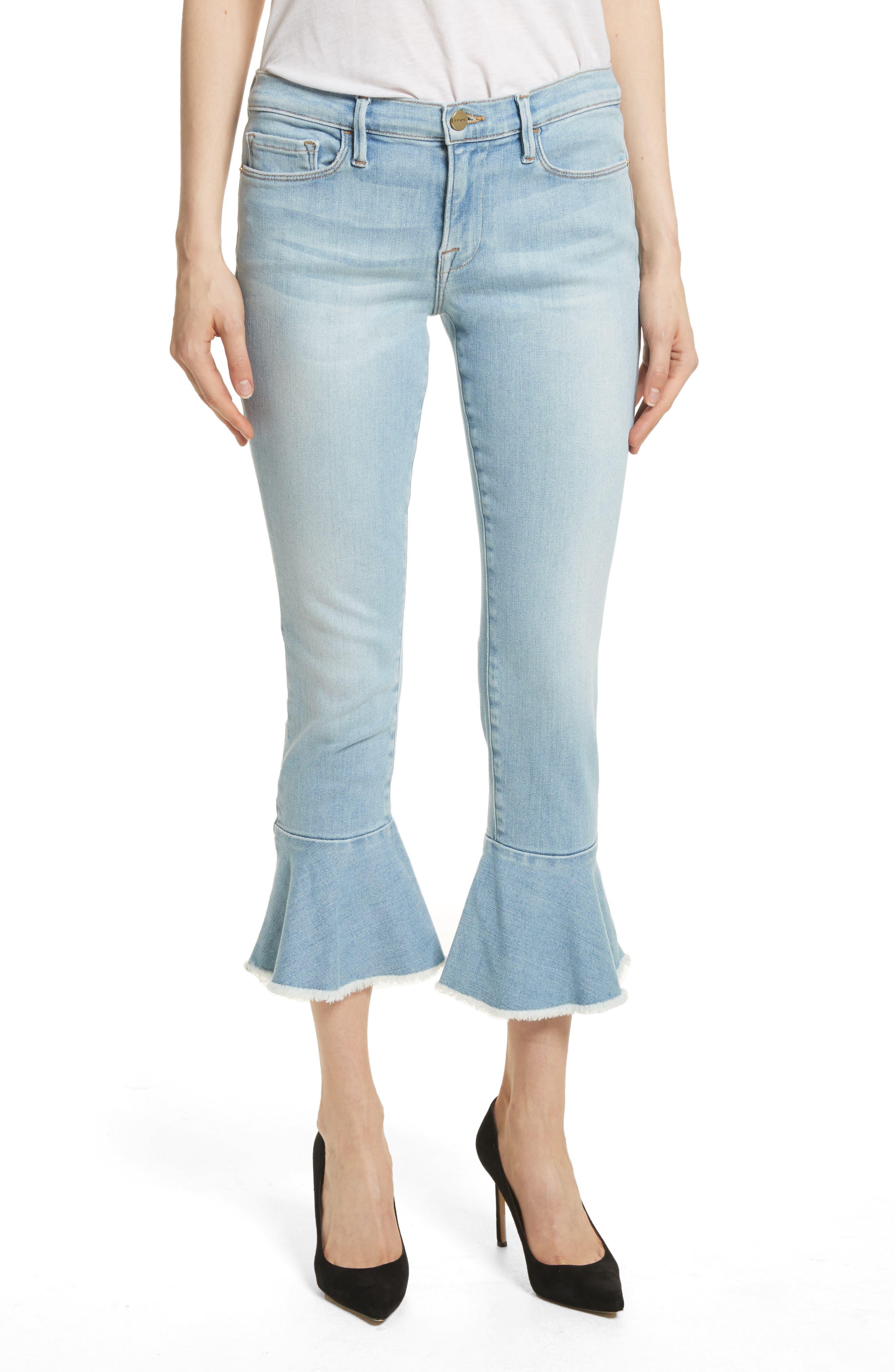 Le Skinny de Jeanne Flounce Skinny Jeans,                         Main,                         color, Limer Stone