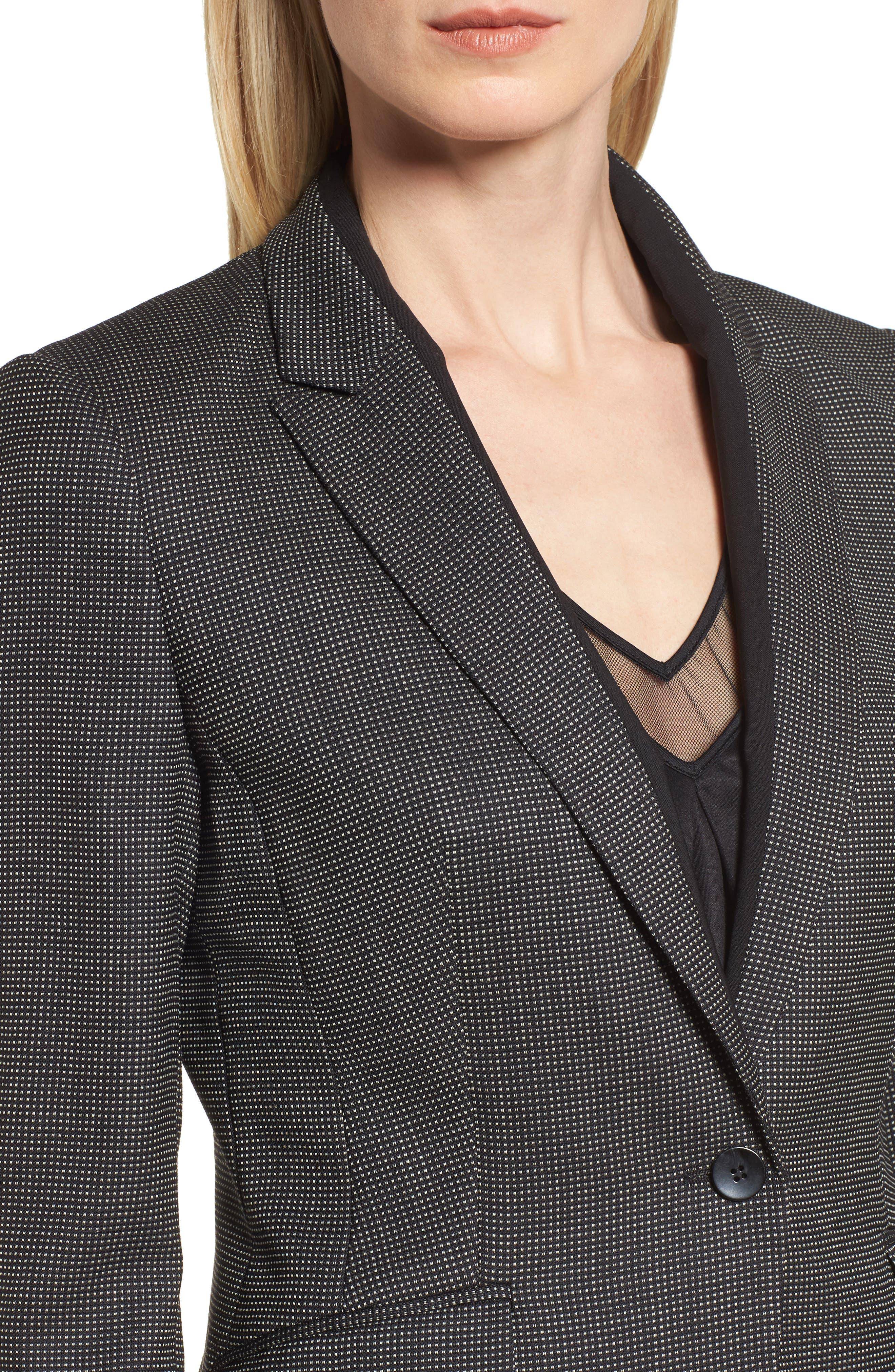 Jeresa Check Stretch Wool Suit Jacket,                             Alternate thumbnail 4, color,                             Black Fantasy