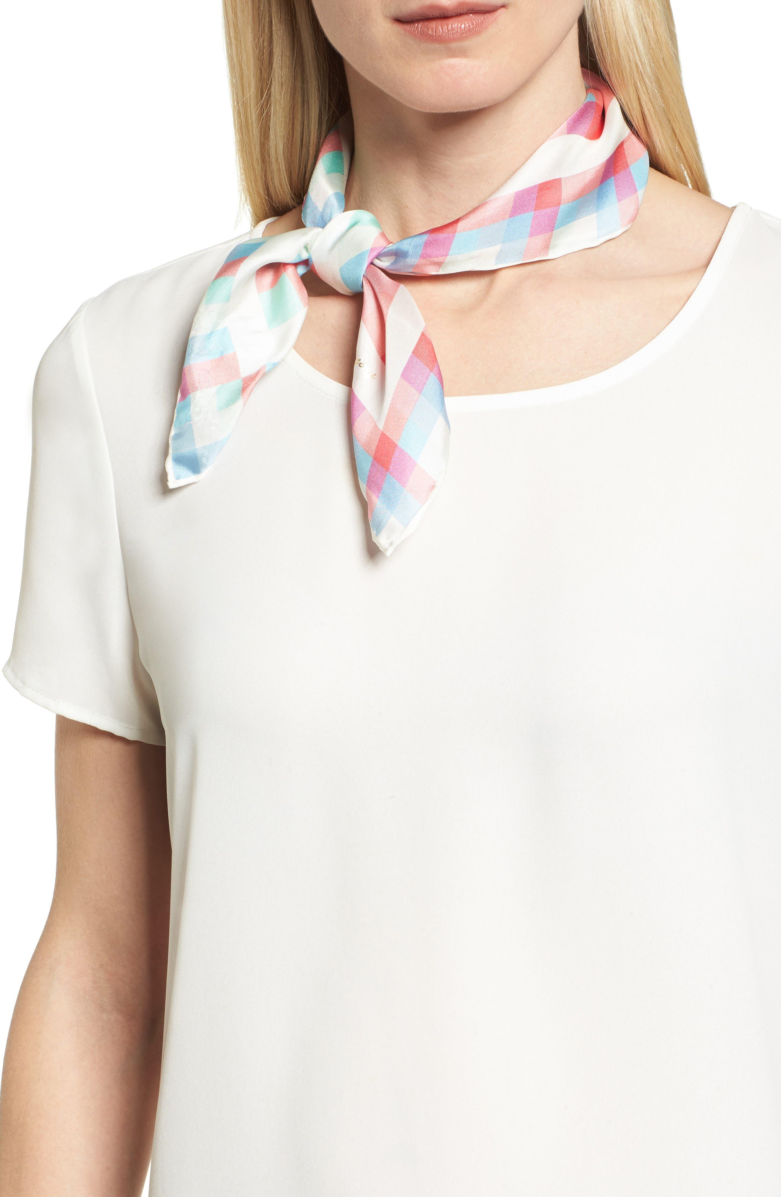 madras plaid silk bandana,                             Main thumbnail 1, color,                             Cream