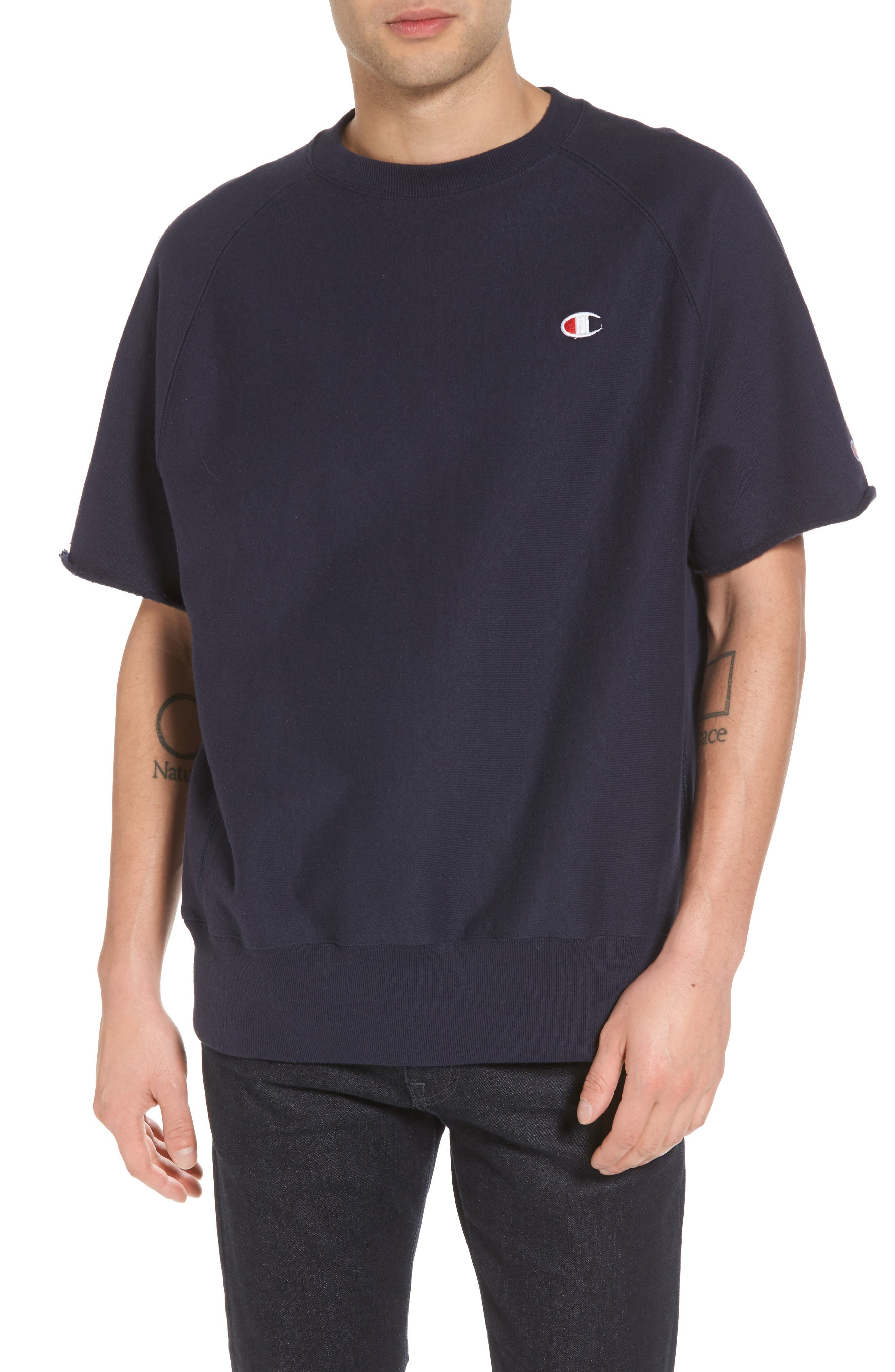 Reverse Weave Short Sleeve Sweatshirt,                         Main,                         color, Navy