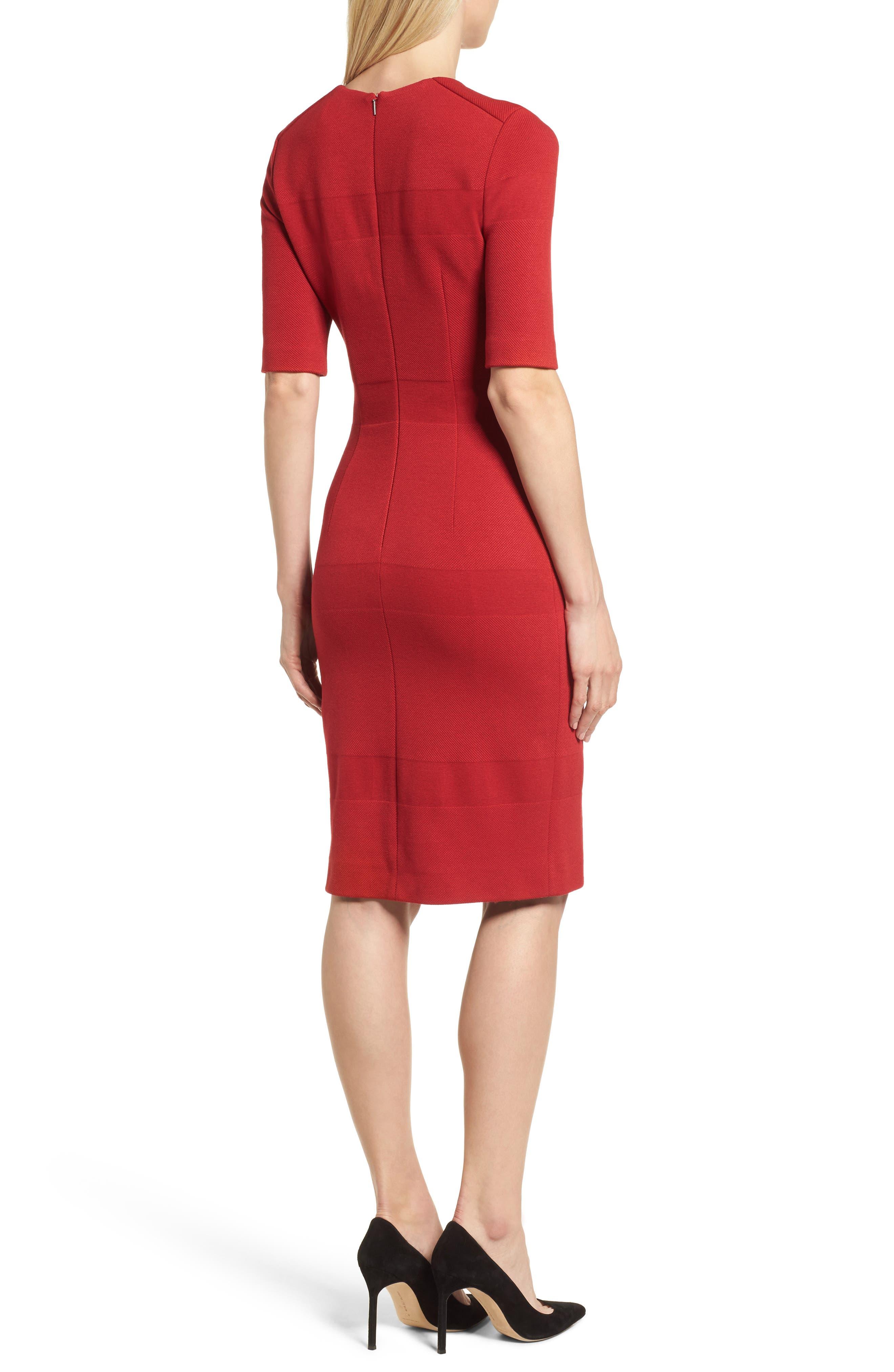 Hibela Tonal Stripe Dress,                             Alternate thumbnail 2, color,                             Crimson Red