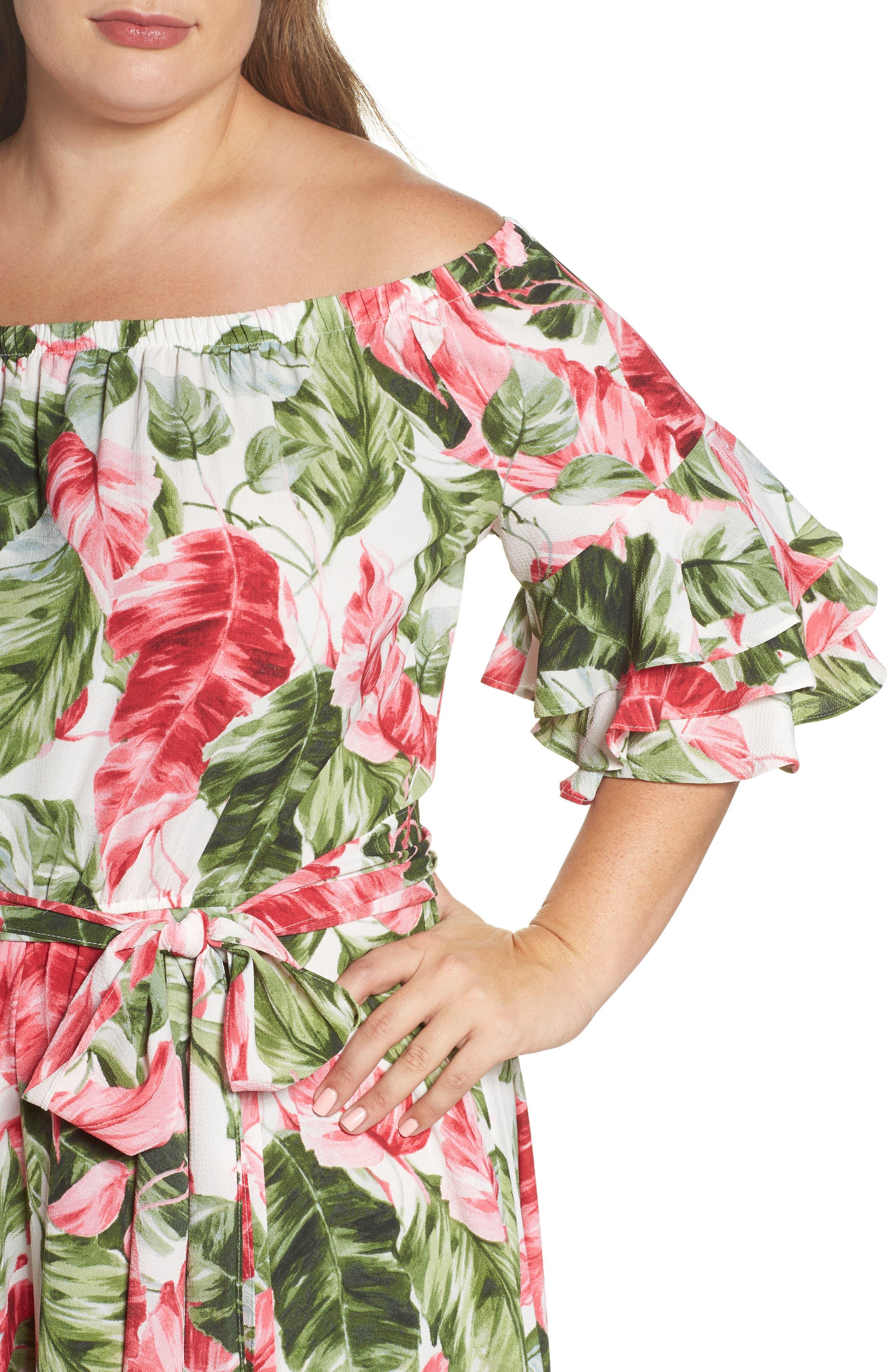 Off the Shoulder Floral Midi Dress,                             Alternate thumbnail 4, color,                             Green/ Pink