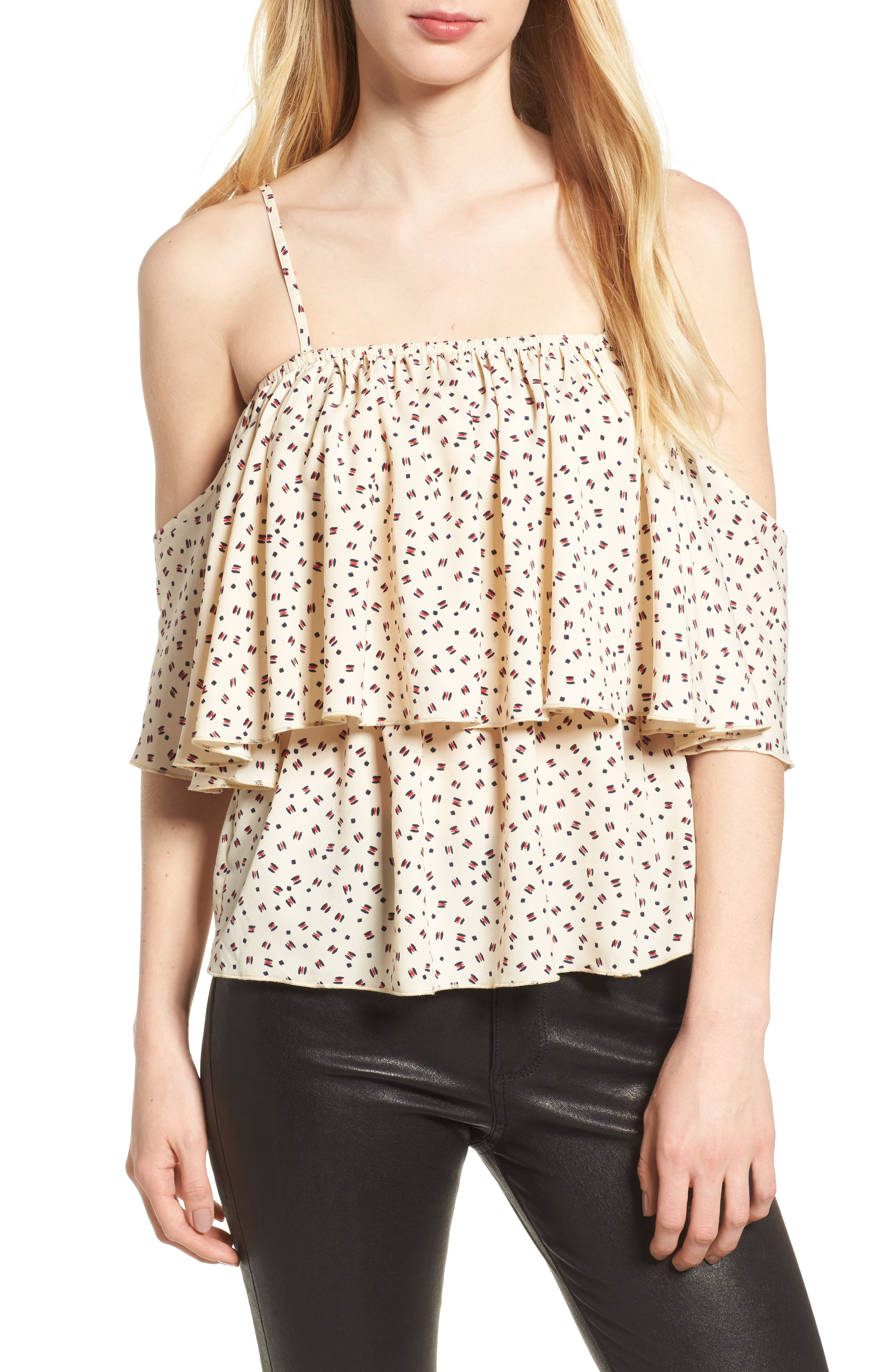 Bishop + Young Lilly Tiered Top,                         Main,                         color, White Print