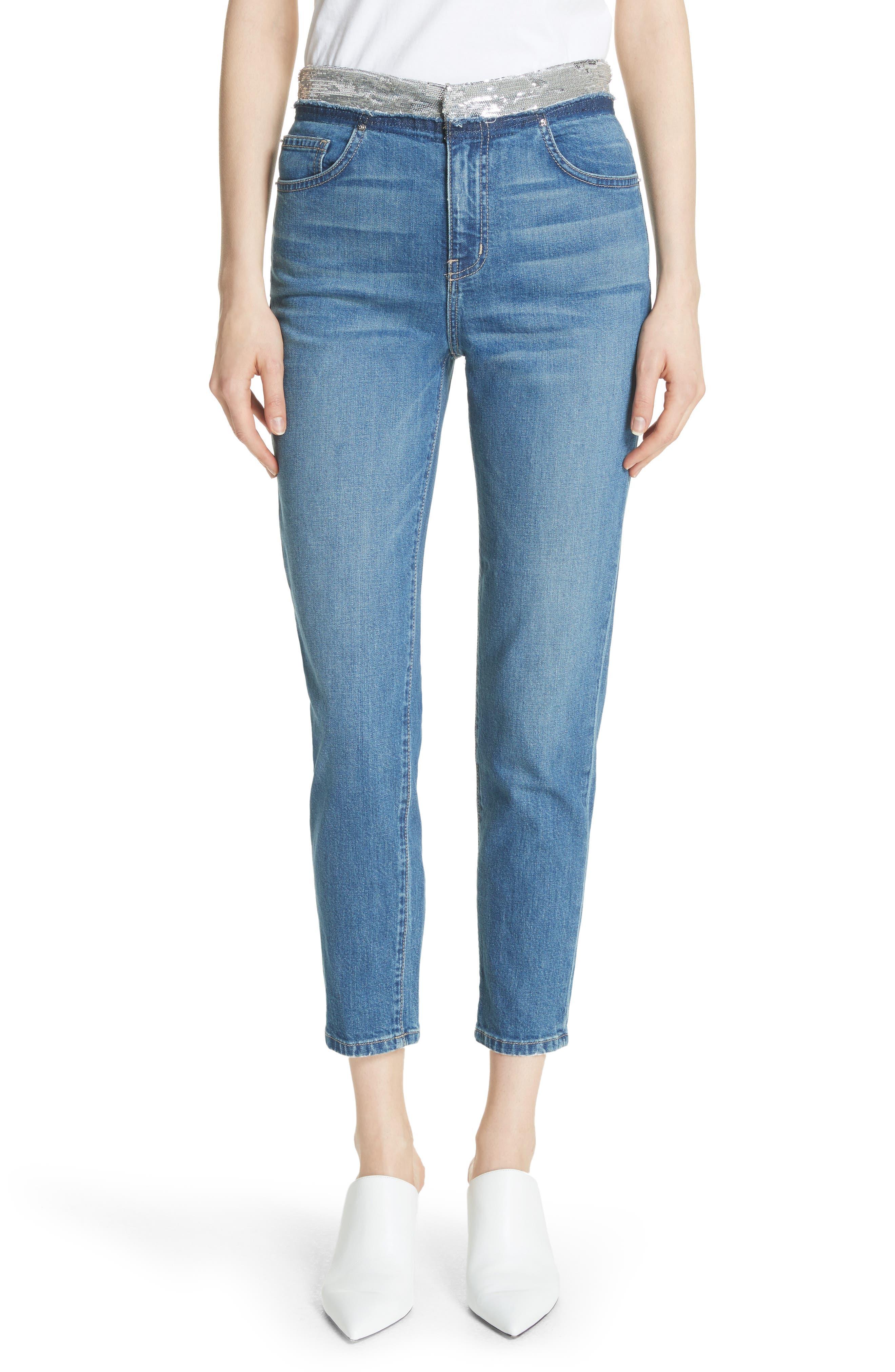 Main Image - IRO Jones Crop Jeans (Stone Blue)