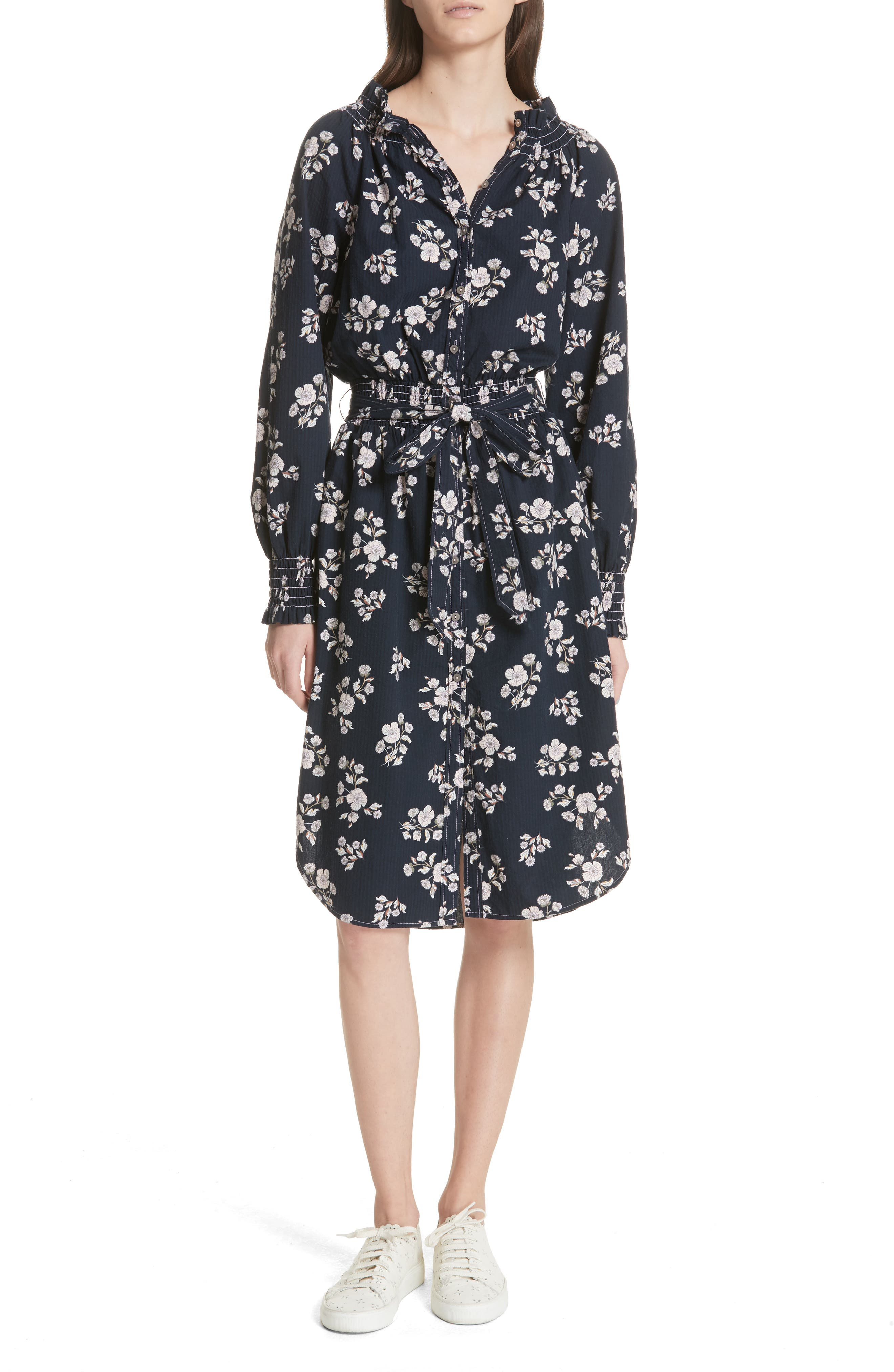 Camille Floral Shirtdress,                         Main,                         color, Midnight Navy Combo
