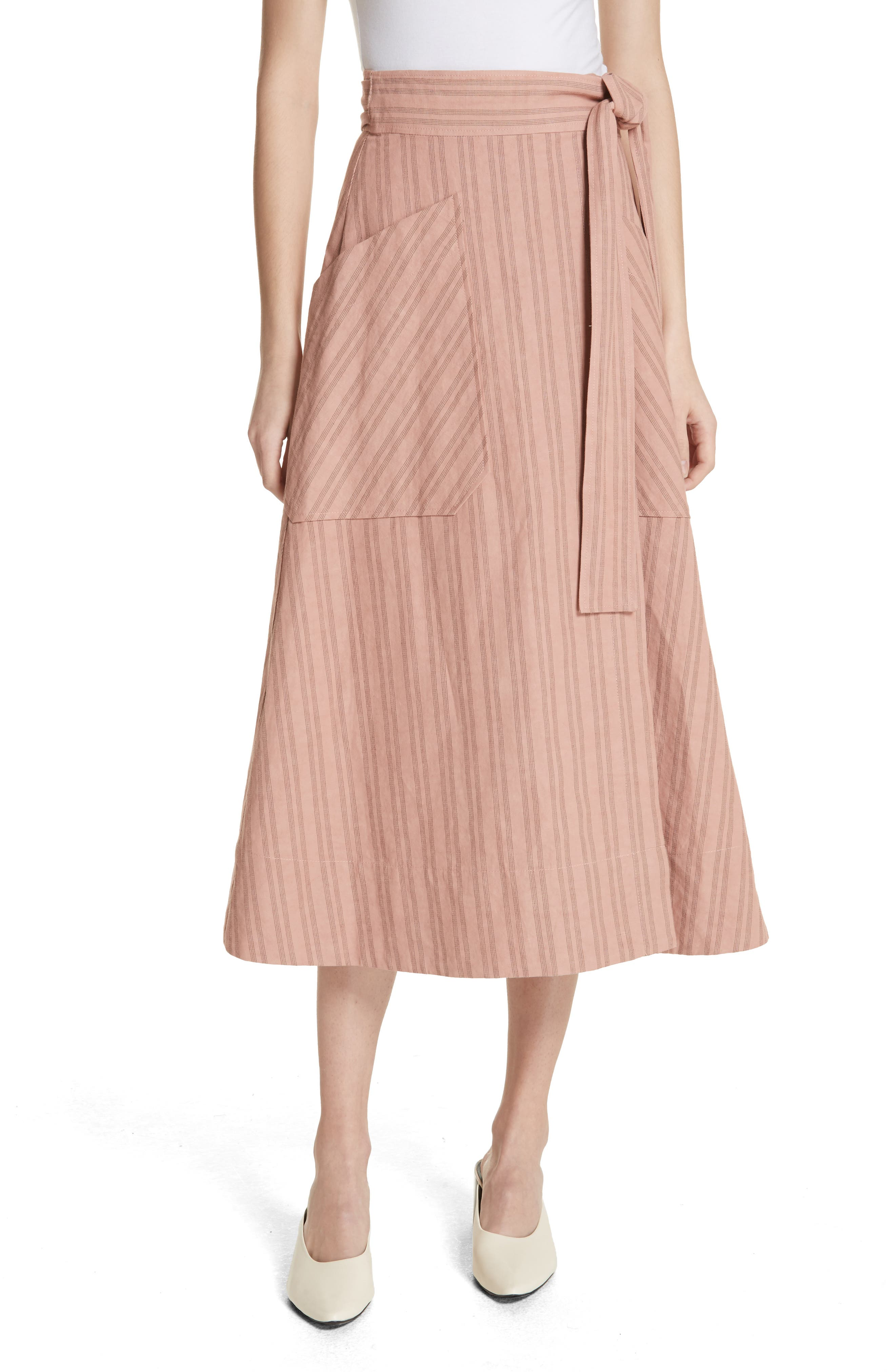Stripe Wrap Midi Skirt,                             Main thumbnail 1, color,                             Rose Hip/ Black