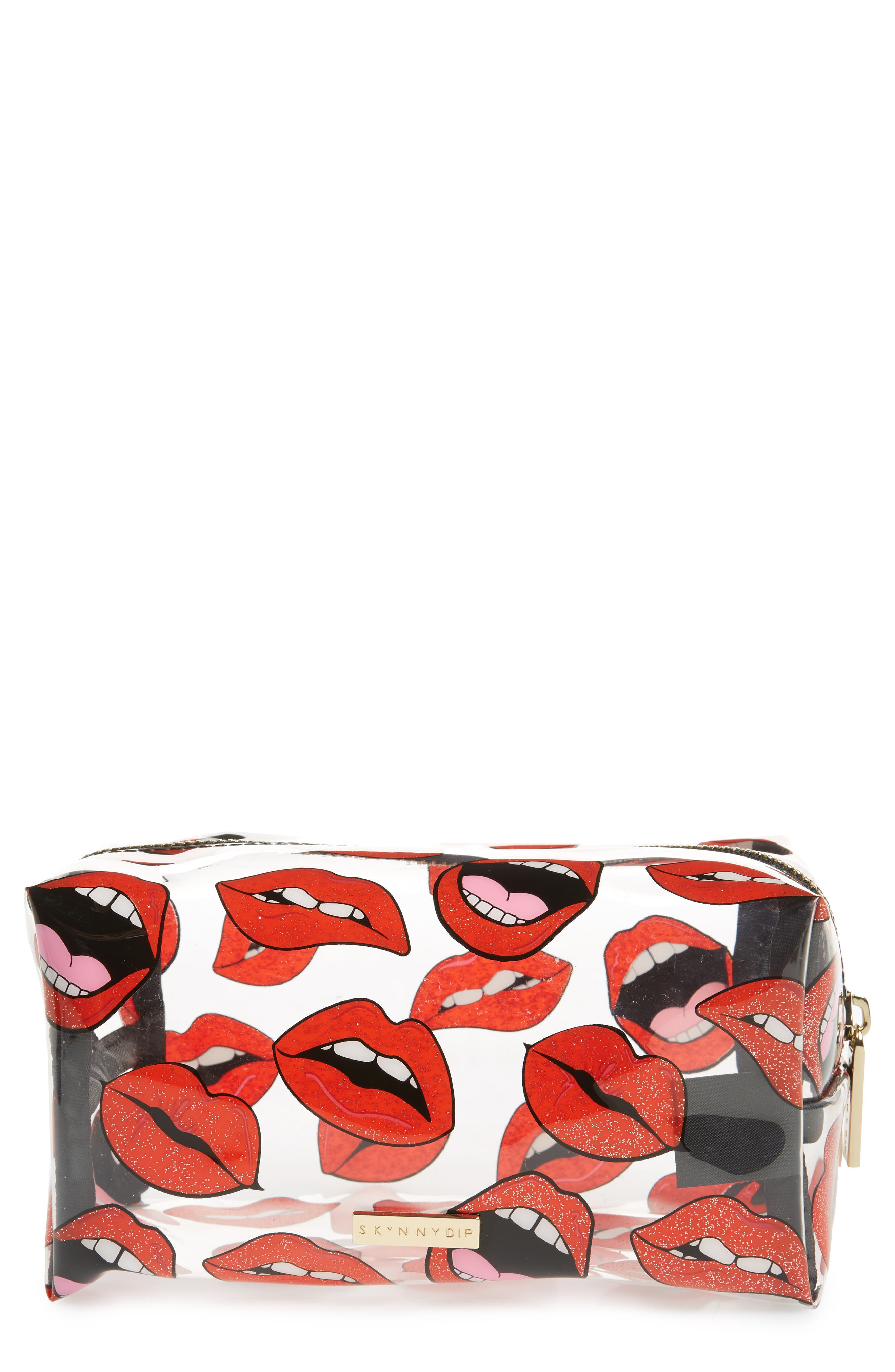Skinny Dip Lips & Glitter Case,                             Main thumbnail 1, color,                             No Color