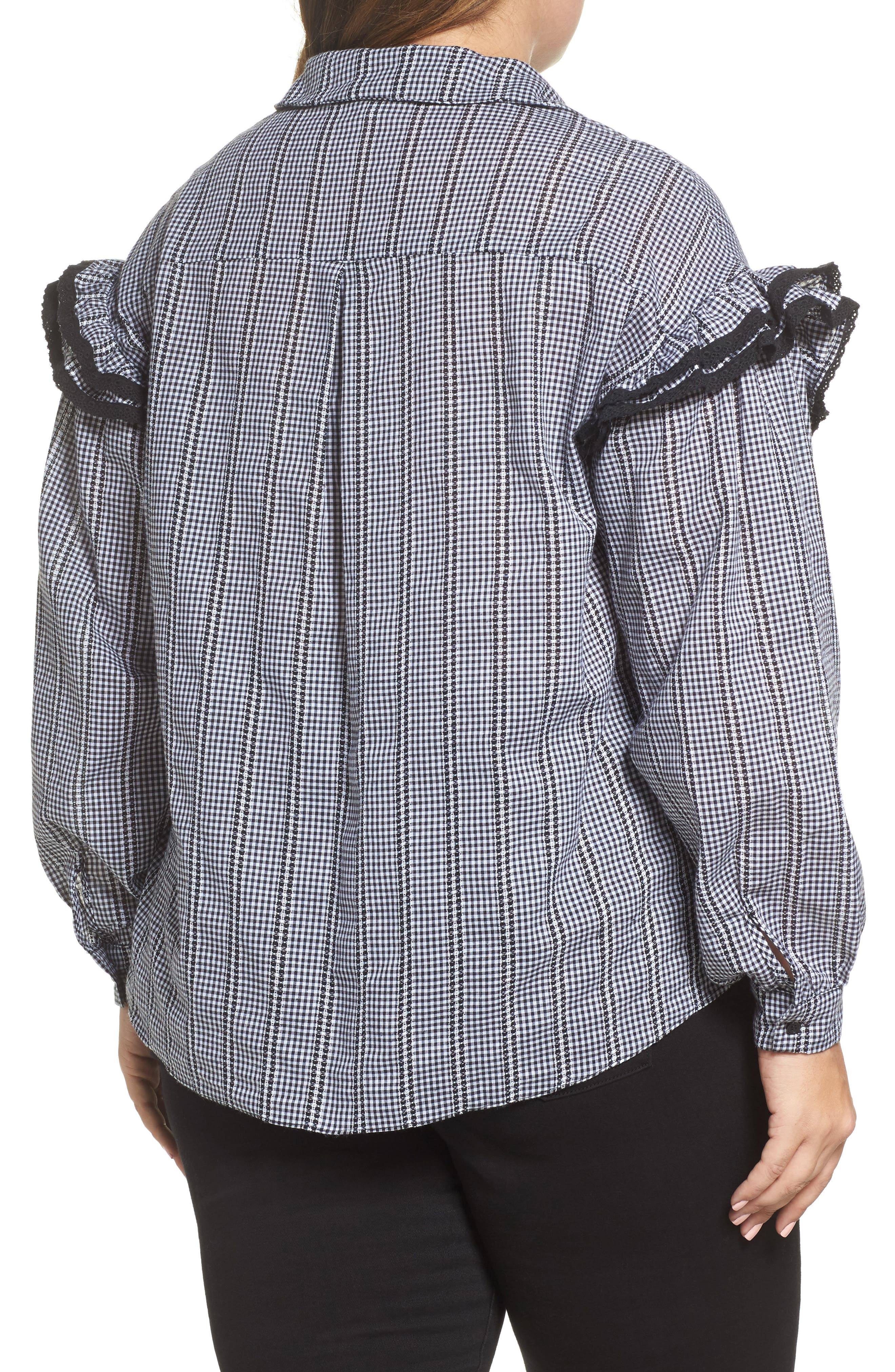 Gingham Ruffle Sleeve Shirt,                             Alternate thumbnail 3, color,                             Multi