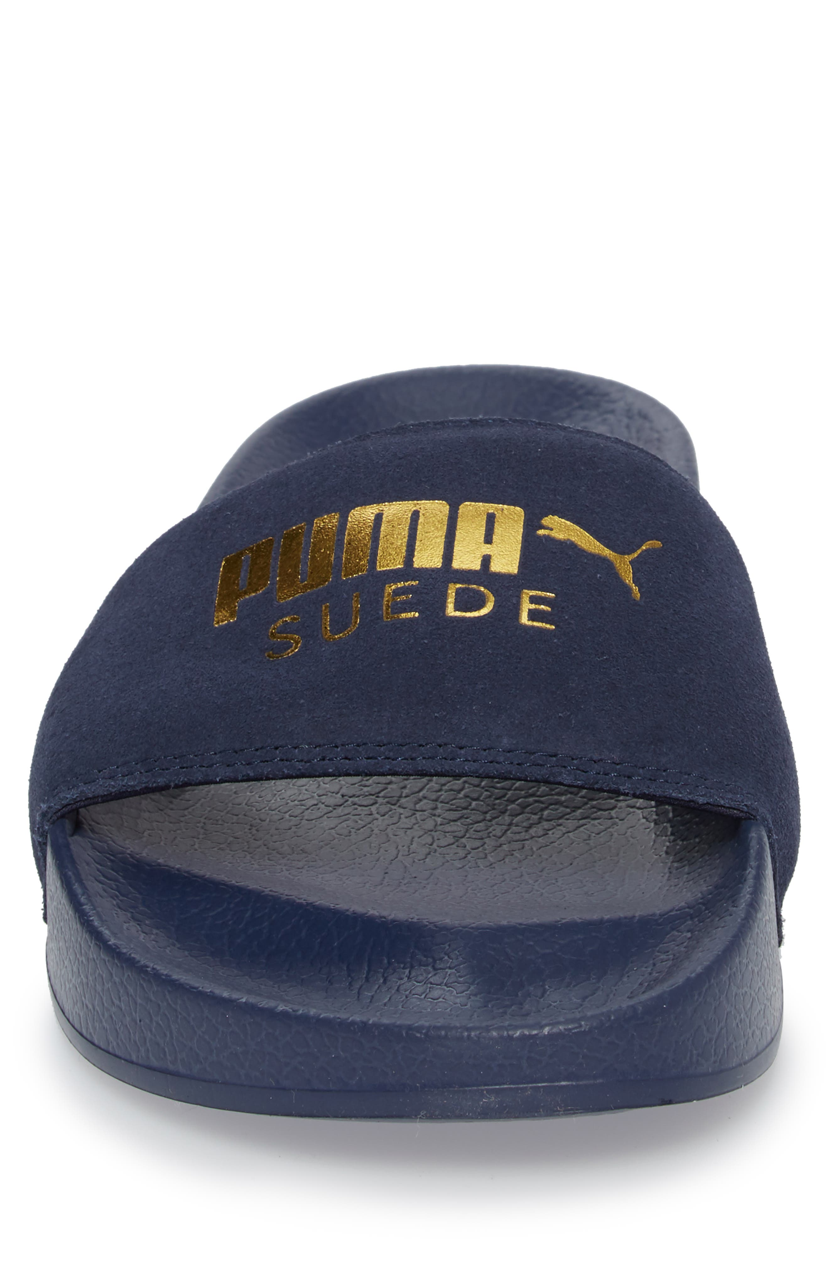 Leadcat Suede Slide Sandal,                             Alternate thumbnail 4, color,                             Peacoat/ Gold Leather/ Suede