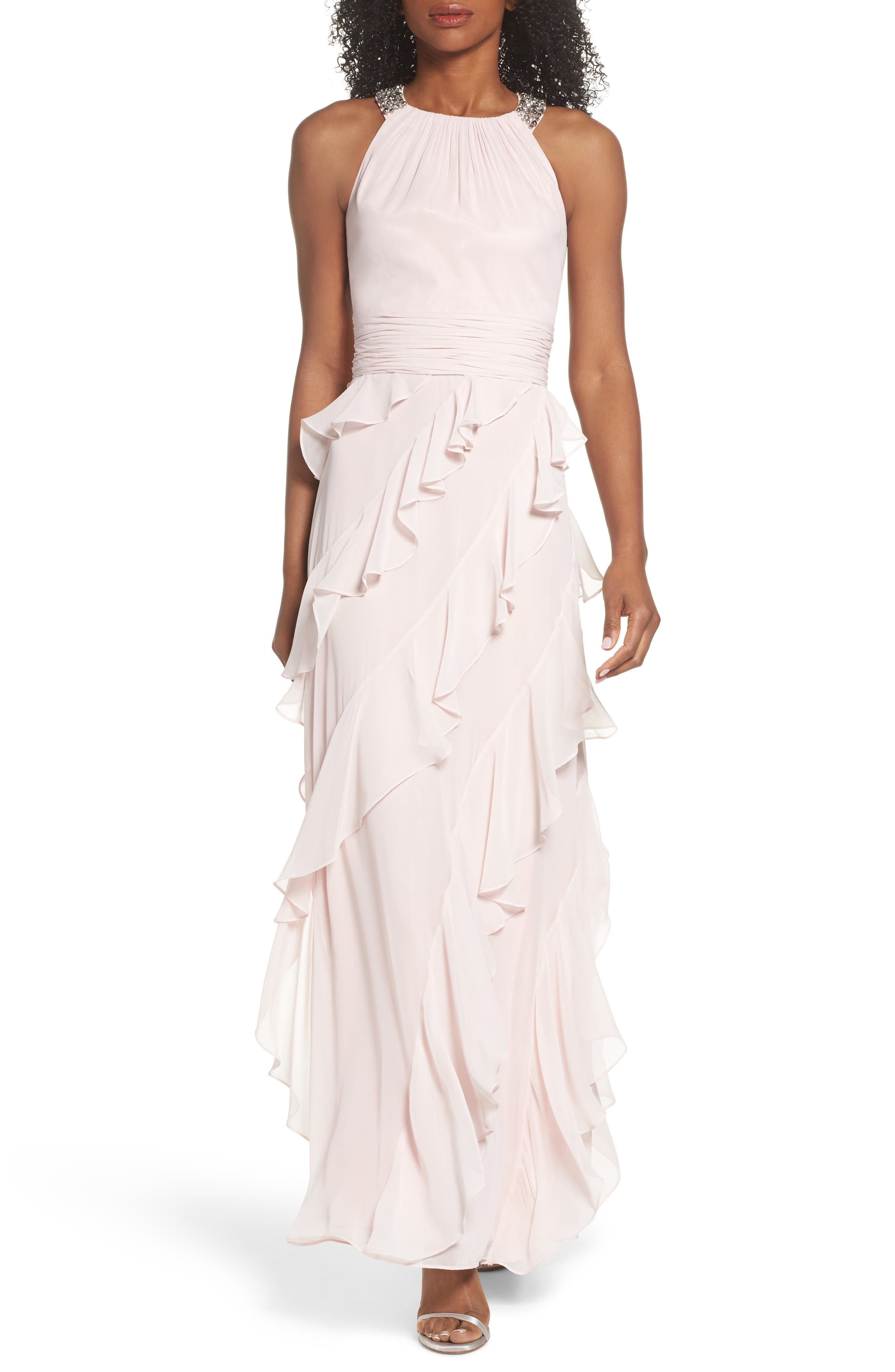 Embellished Ruffle Chiffon Gown,                         Main,                         color, Blush