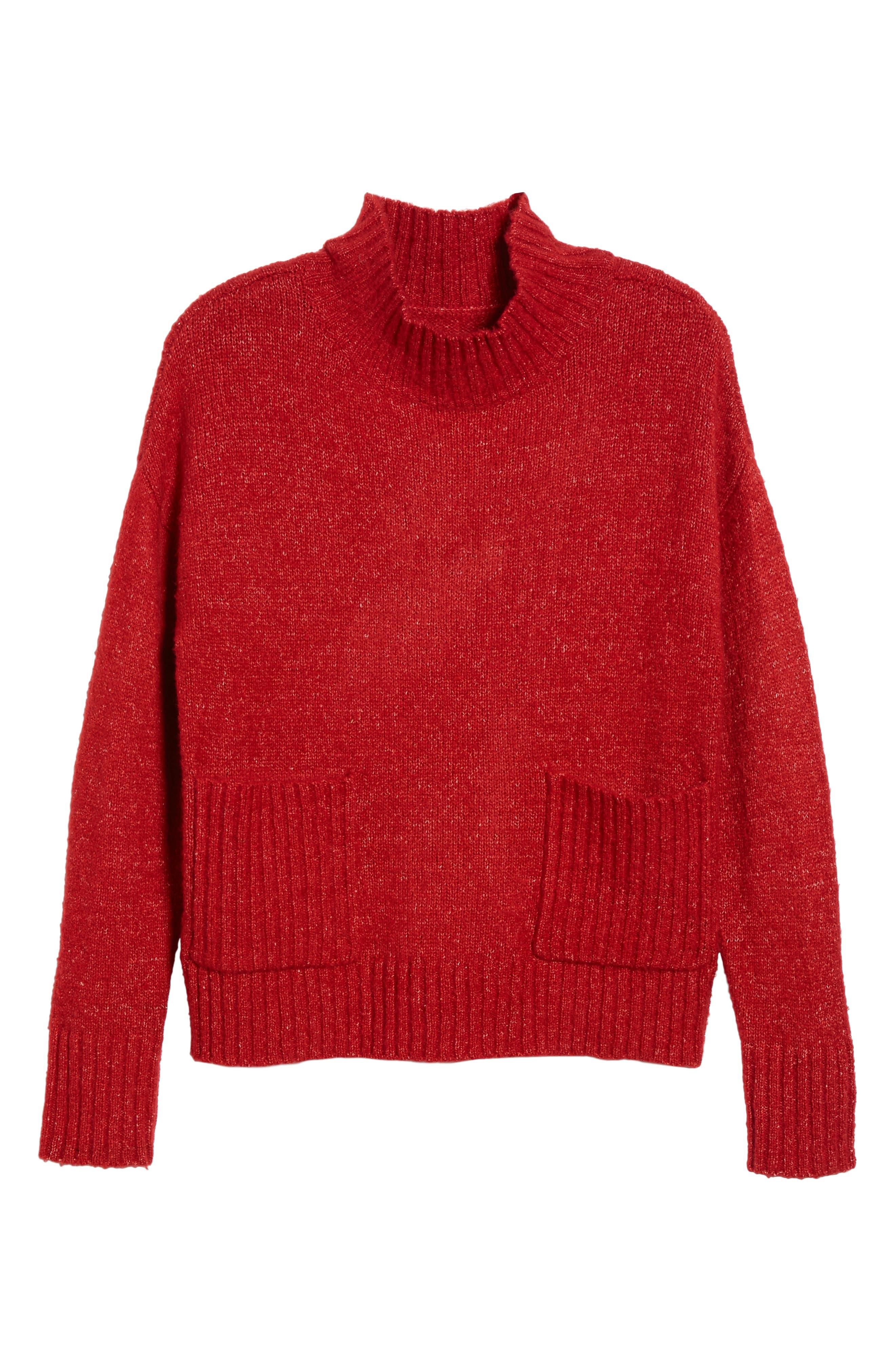 Mock Neck Patch Pocket Pullover,                             Alternate thumbnail 6, color,                             Red
