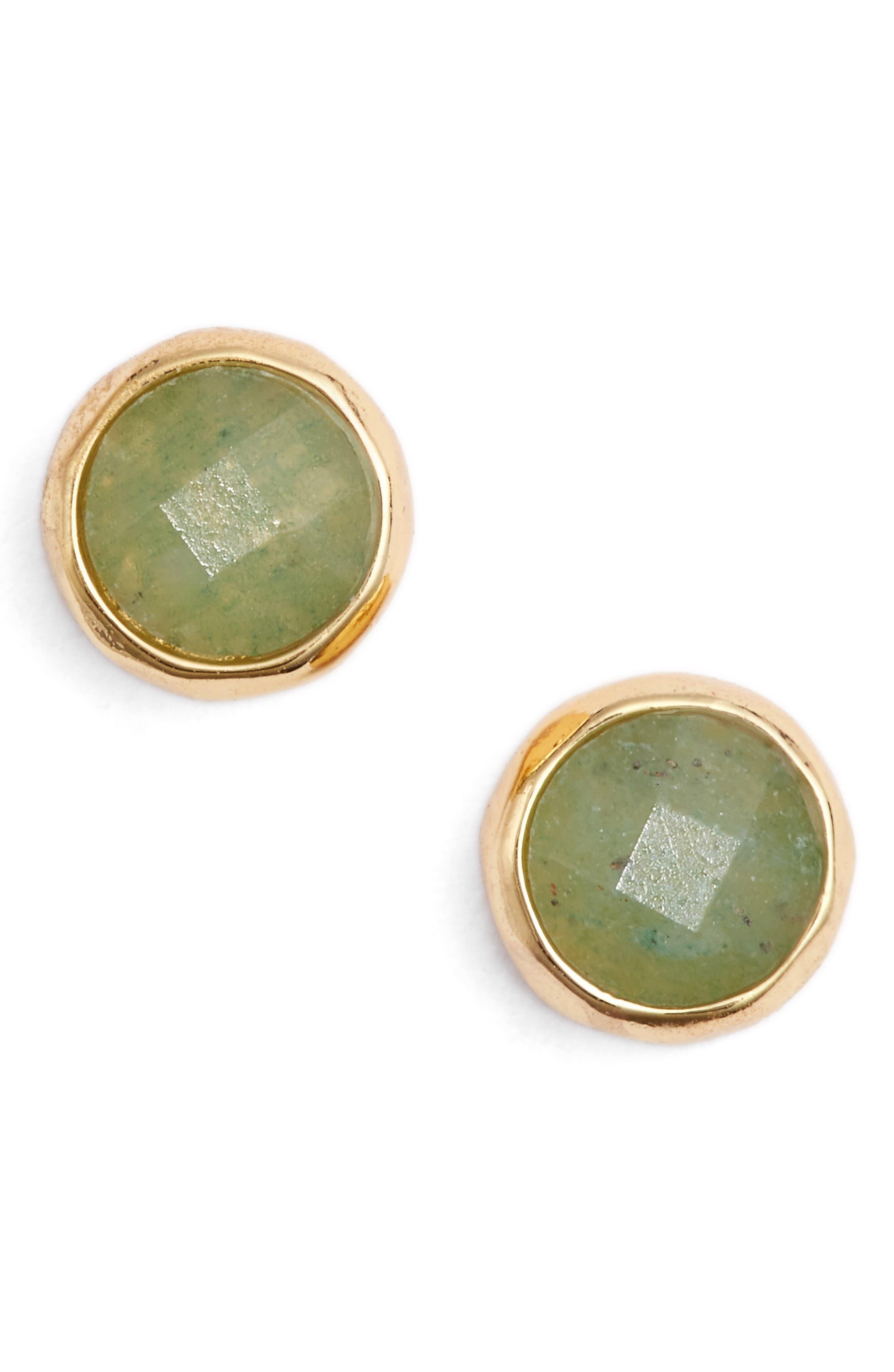 Aventurine Luck Stud Earrings,                         Main,                         color, Aventurine/ Gold