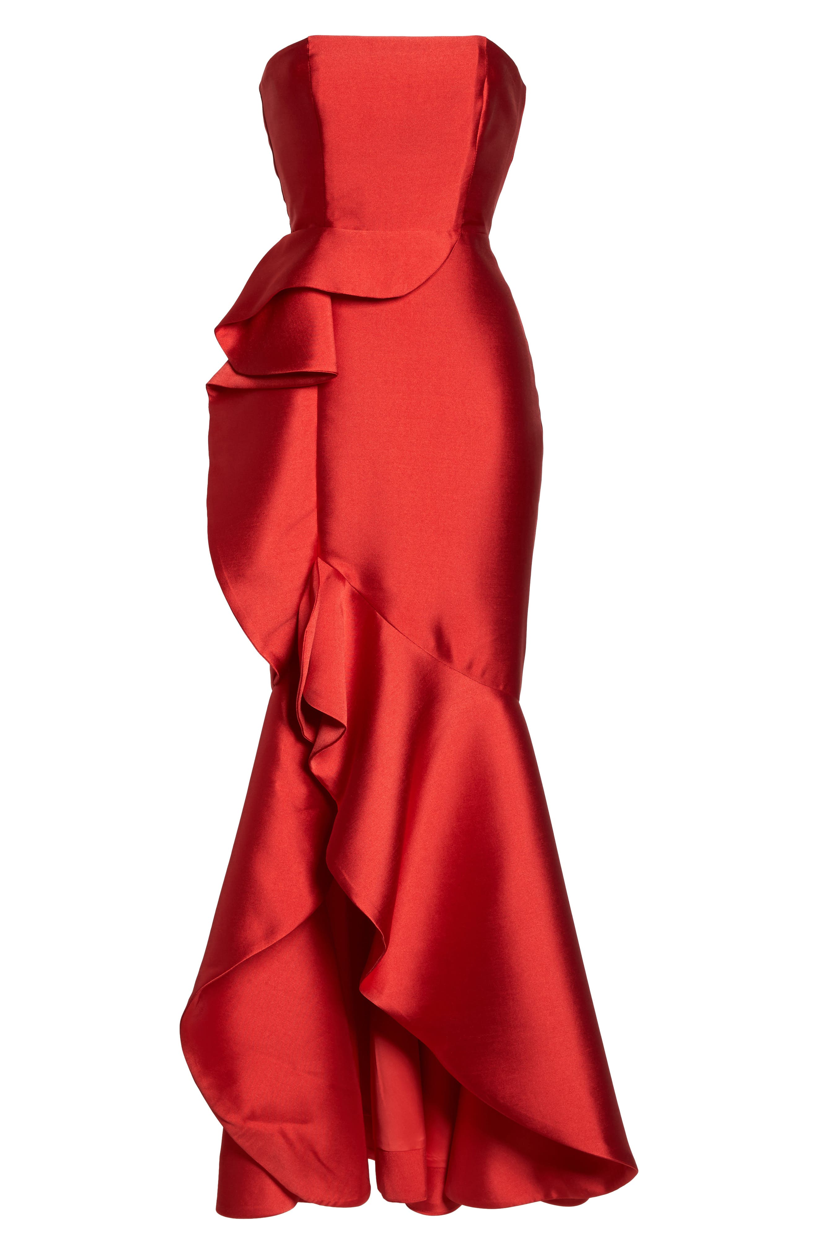 Sellers High/Low Mermaid Gown,                             Alternate thumbnail 6, color,                             Red