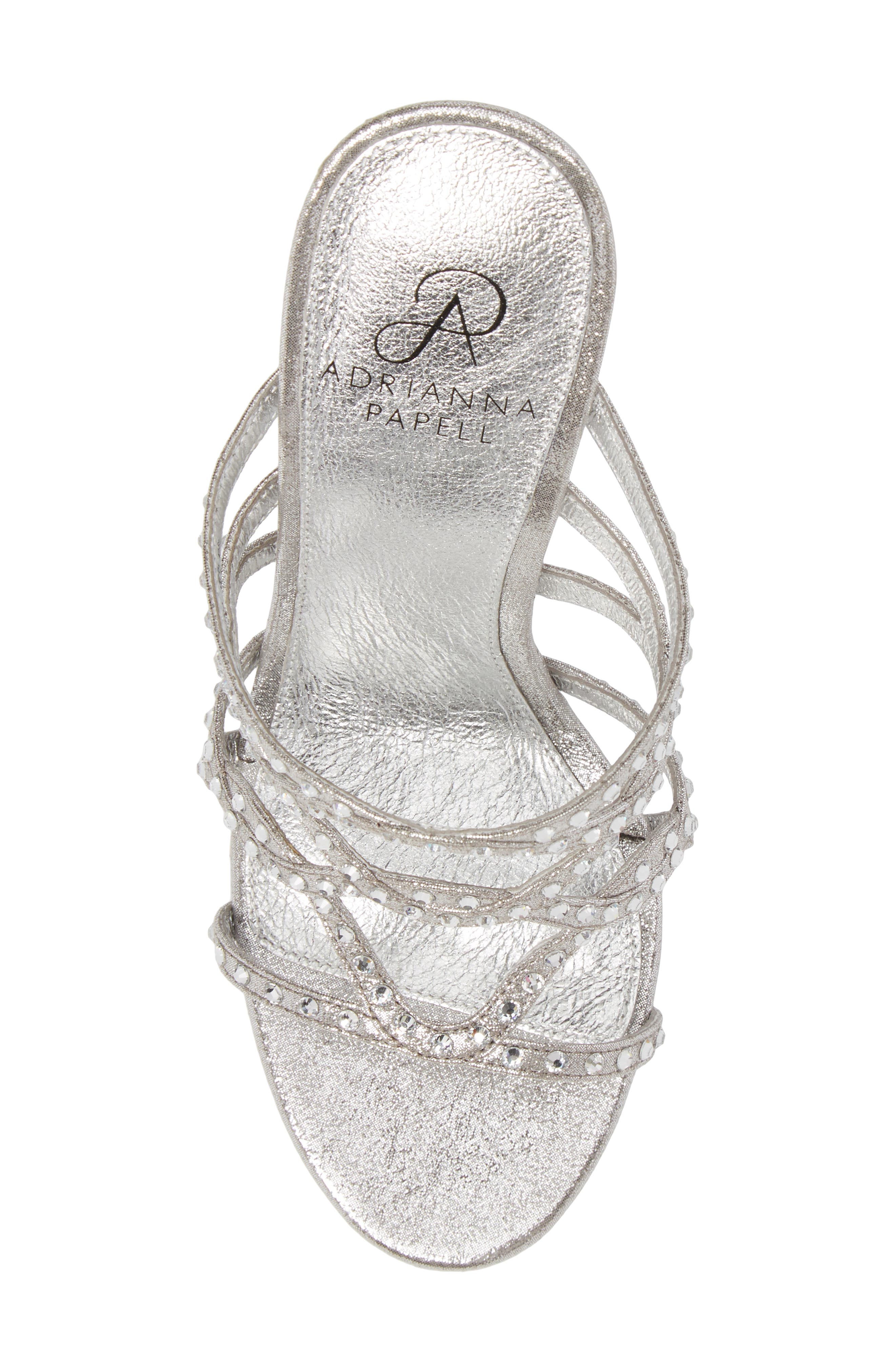 Emma Strappy Sandal,                             Alternate thumbnail 5, color,                             Silver Fabric