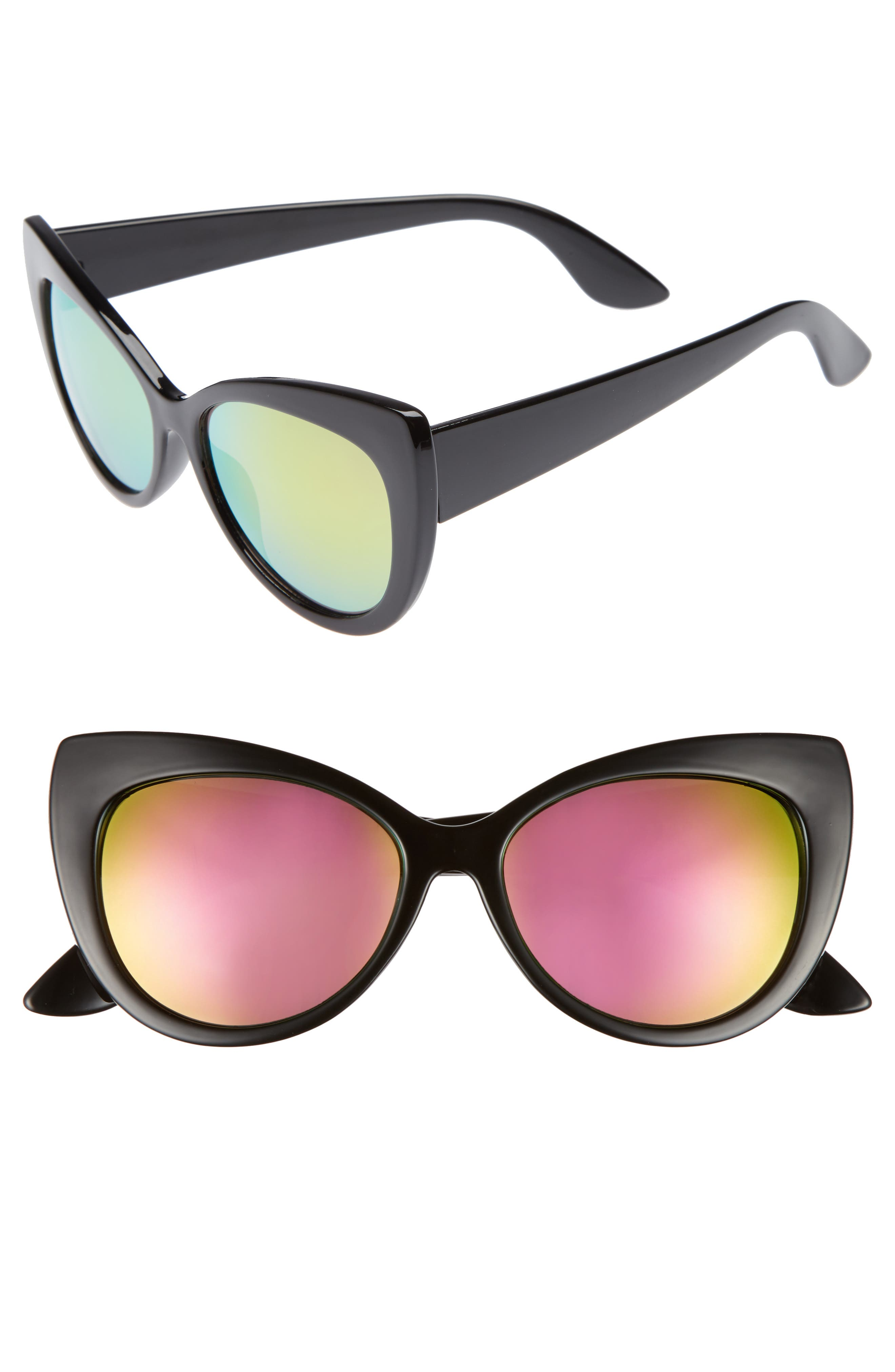 BP 55mm Mirrored Cat Eye Sunglasses,                         Main,                         color, Black